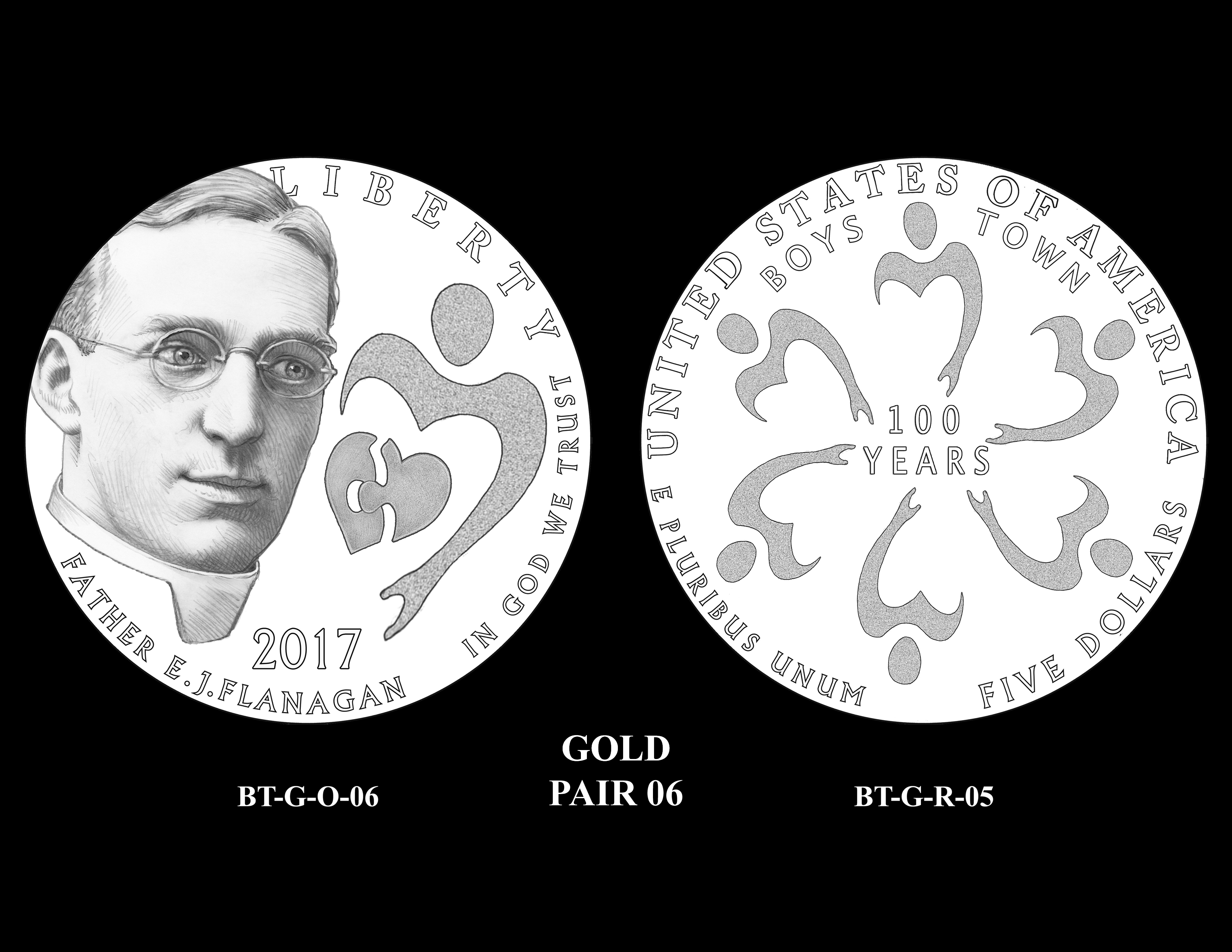 Gold-Pair-06 -- 2017 Boystown Centennial Commemorative Coin  Program