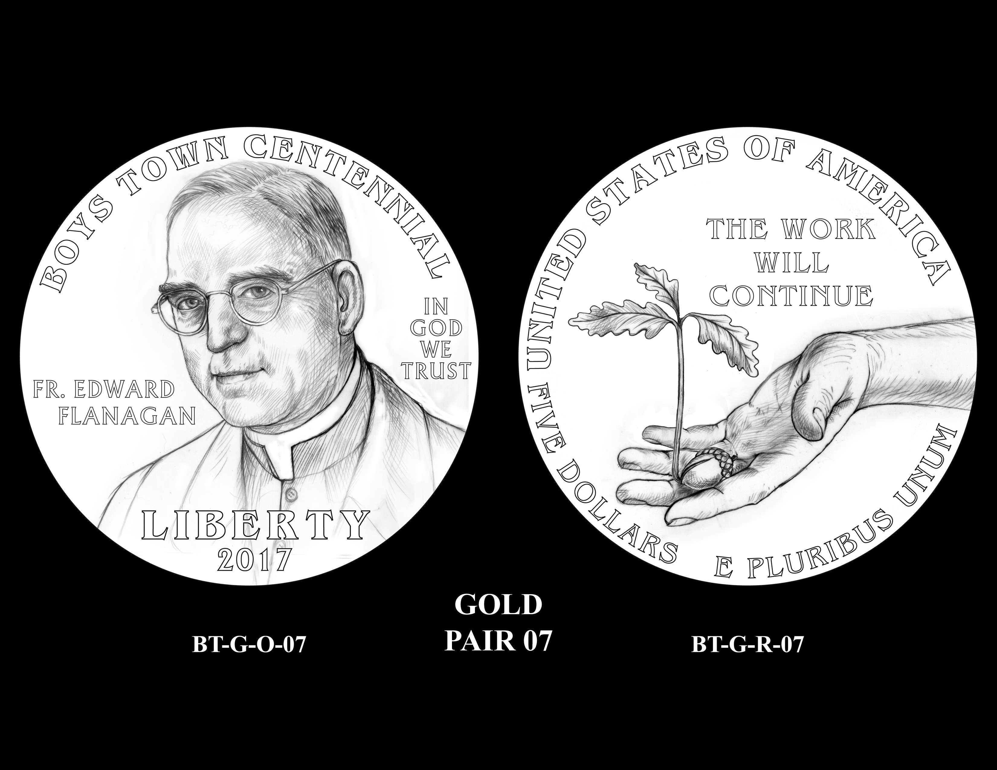Gold-Pair-07 -- 2017 Boystown Centennial Commemorative Coin  Program