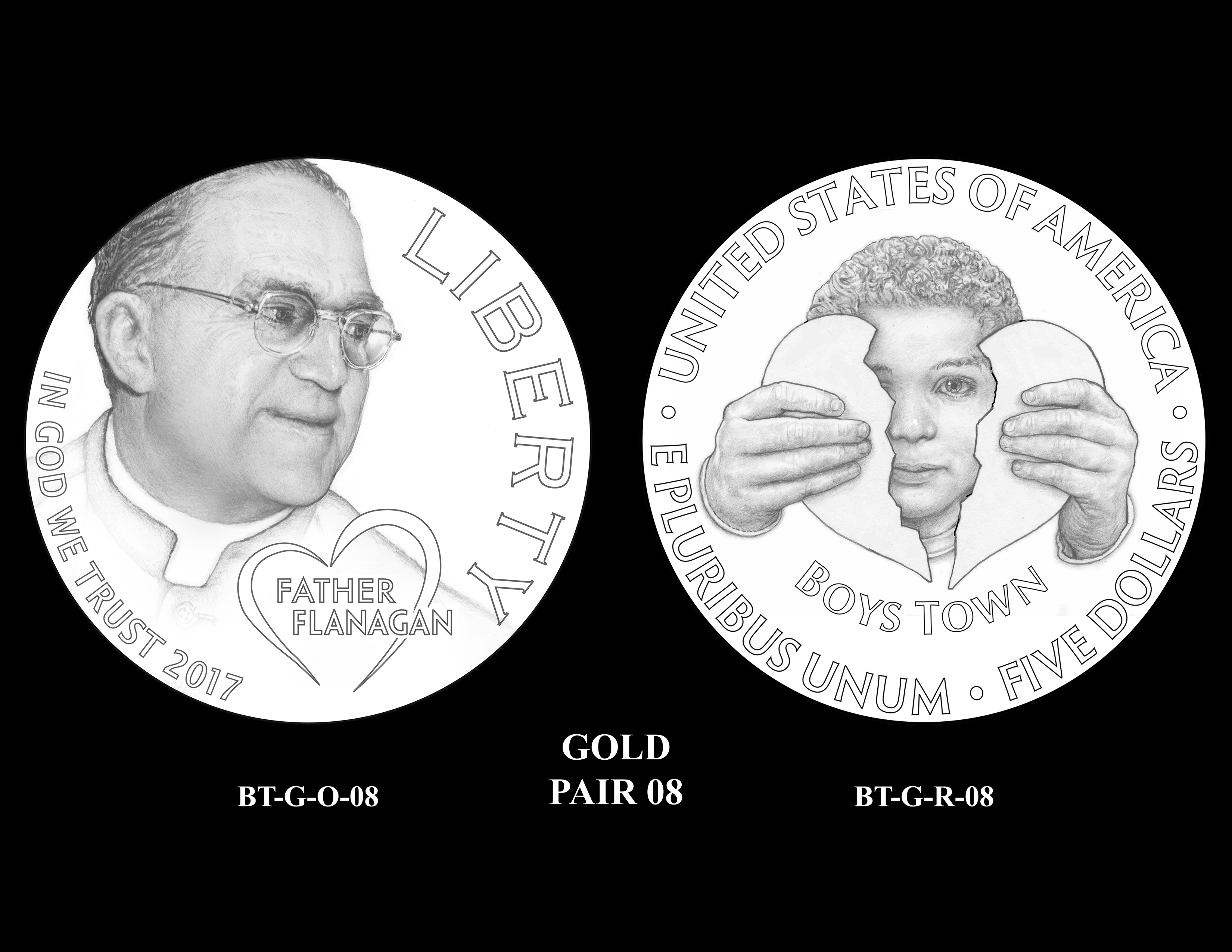 Gold-Pair-08 -- 2017 Boystown Centennial Commemorative Coin  Program