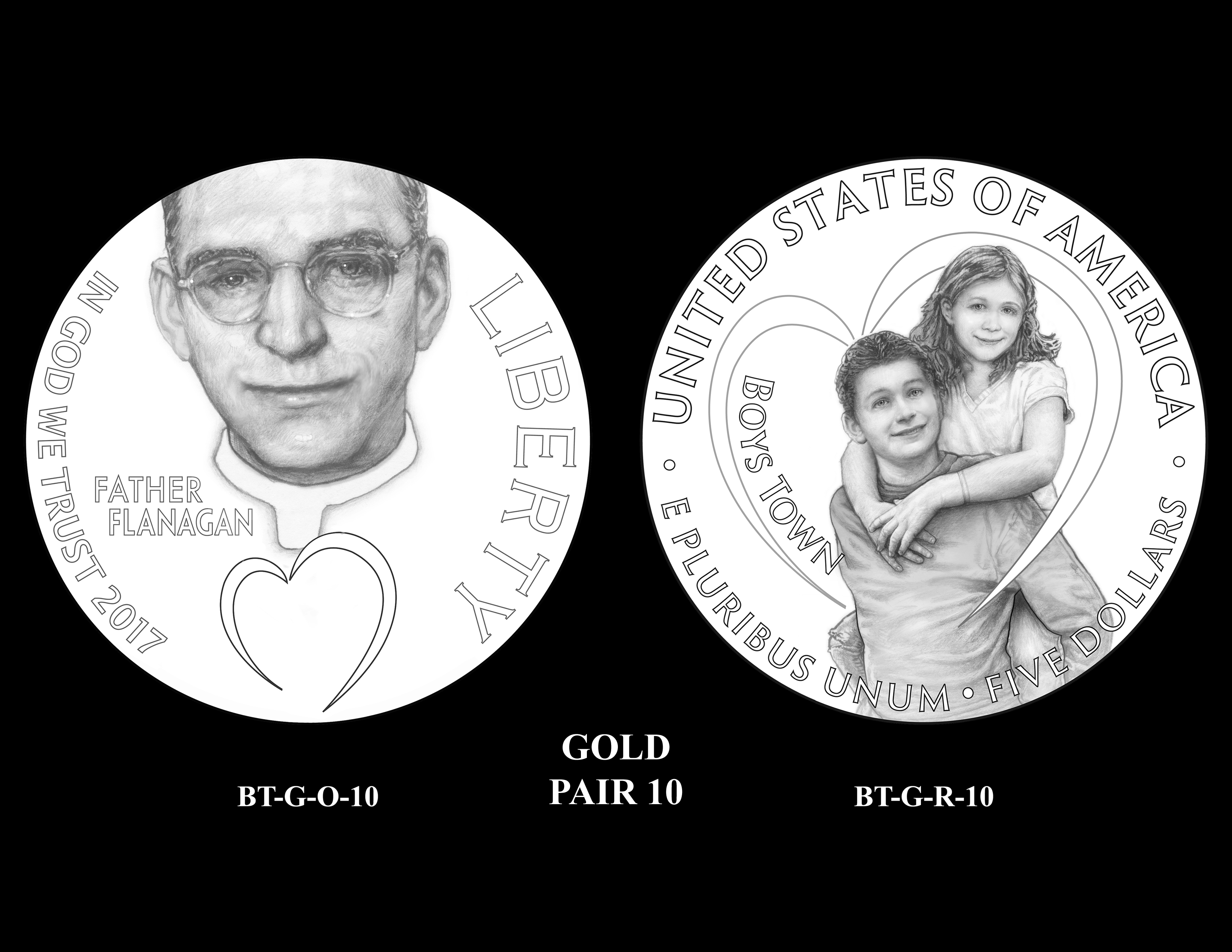 Gold-Pair-10 -- 2017 Boystown Centennial Commemorative Coin  Program