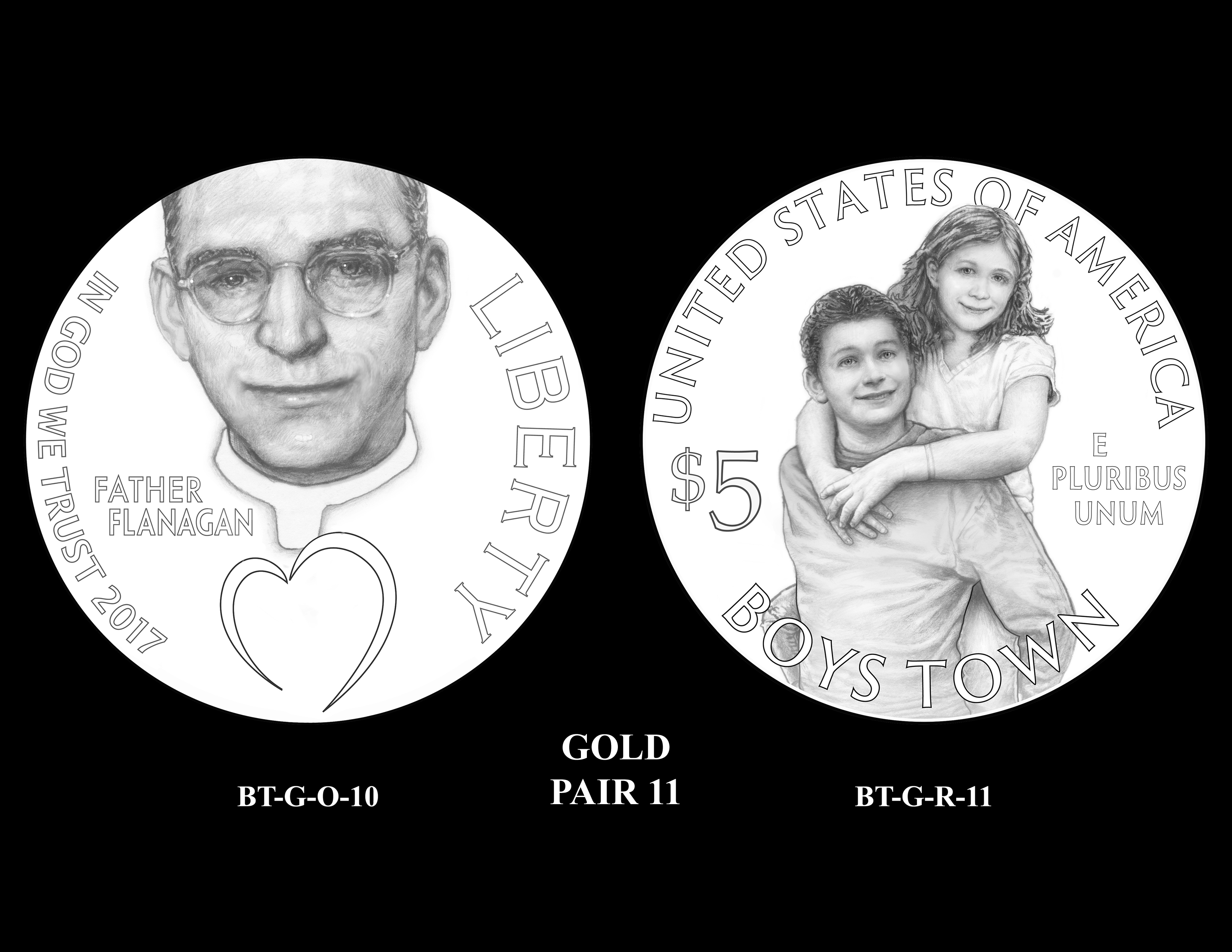 Gold-Pair-11 -- 2017 Boystown Centennial Commemorative Coin  Program