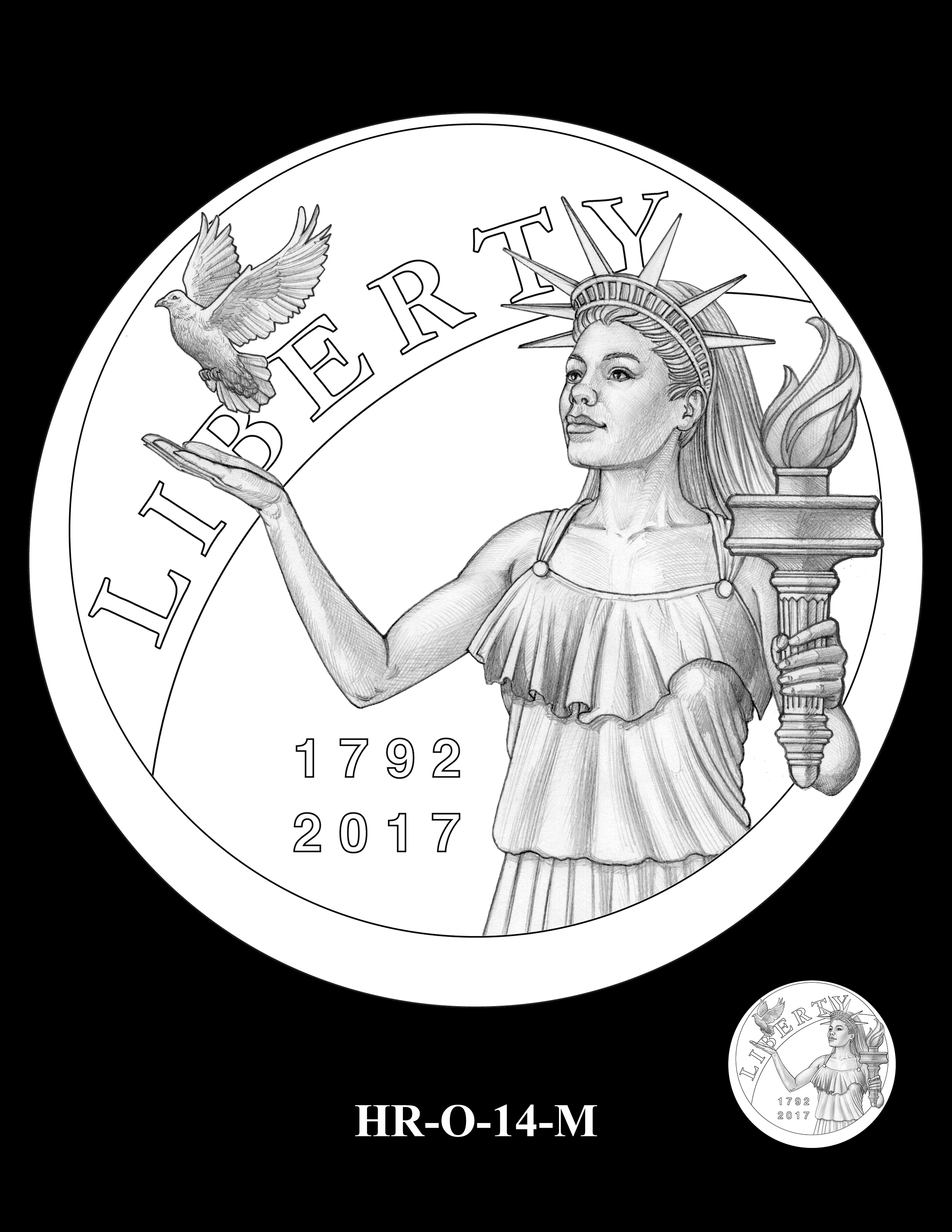 HR-O-14-M - 2017 American Liberty High Relief Gold Coin and Silver Medal Program