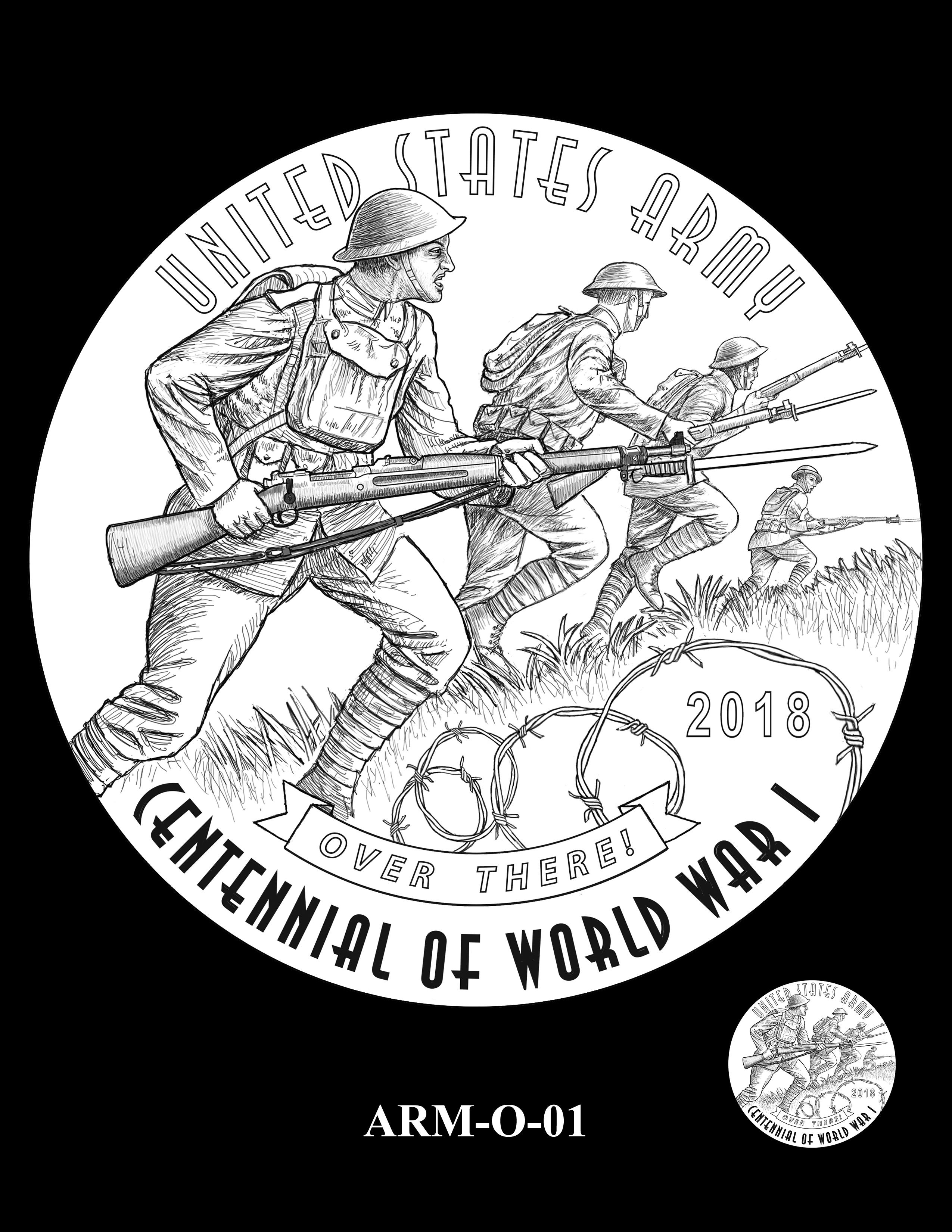 P1-ARM-O-01 -- 2018-World War I Silver Medals - Army