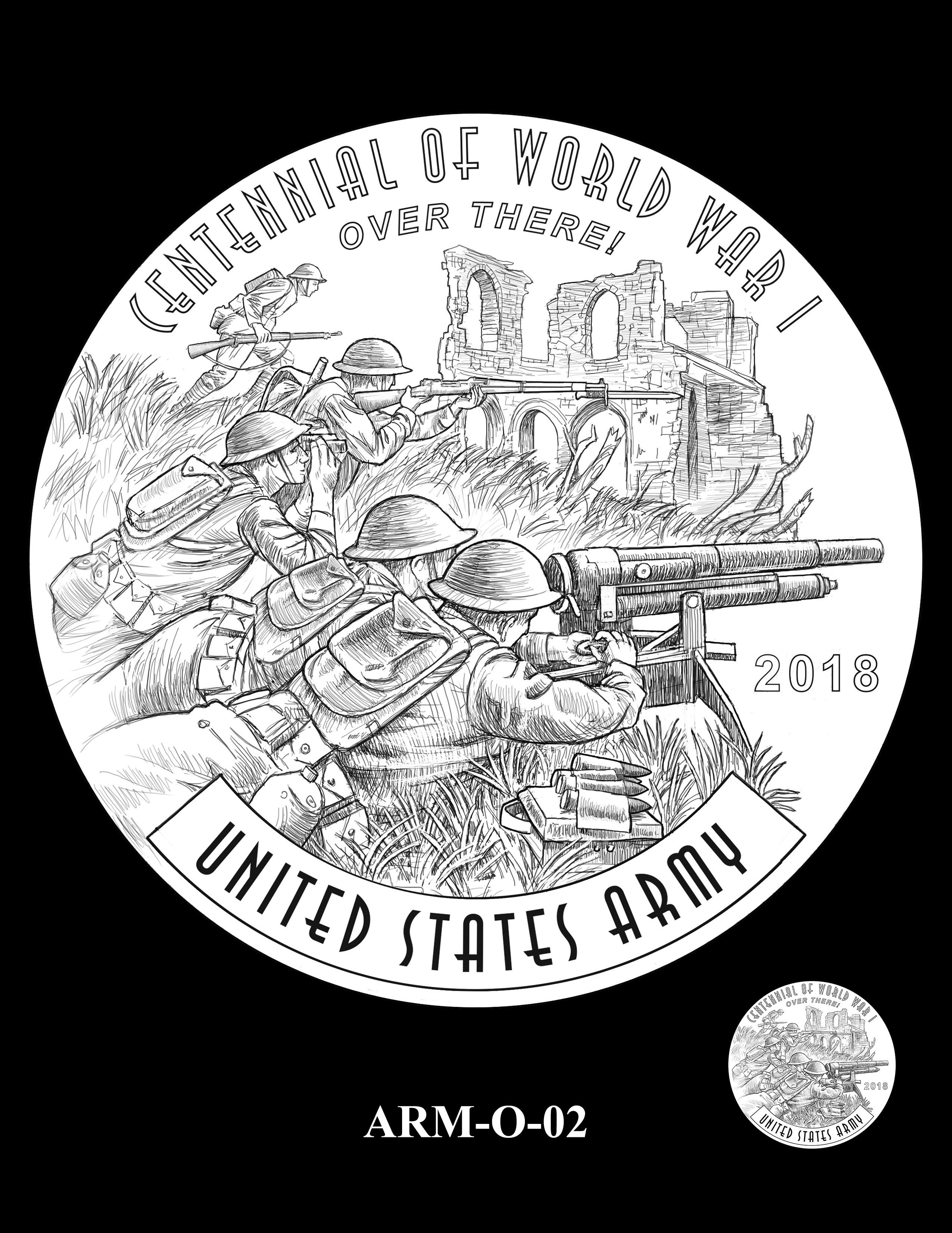 P1-ARM-O-02 -- 2018-World War I Silver Medals - Army