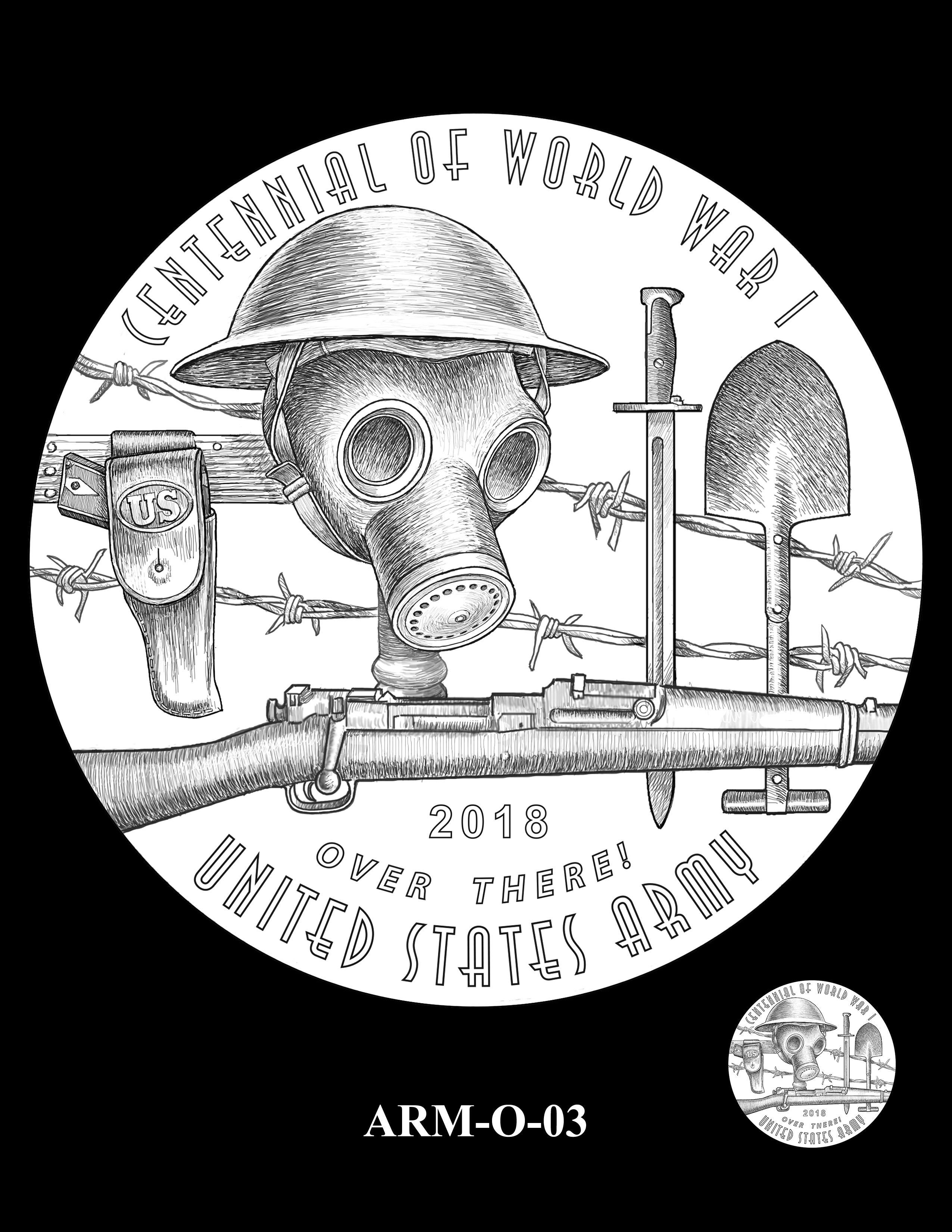 P1-ARM-O-03 -- 2018-World War I Silver Medals - Army