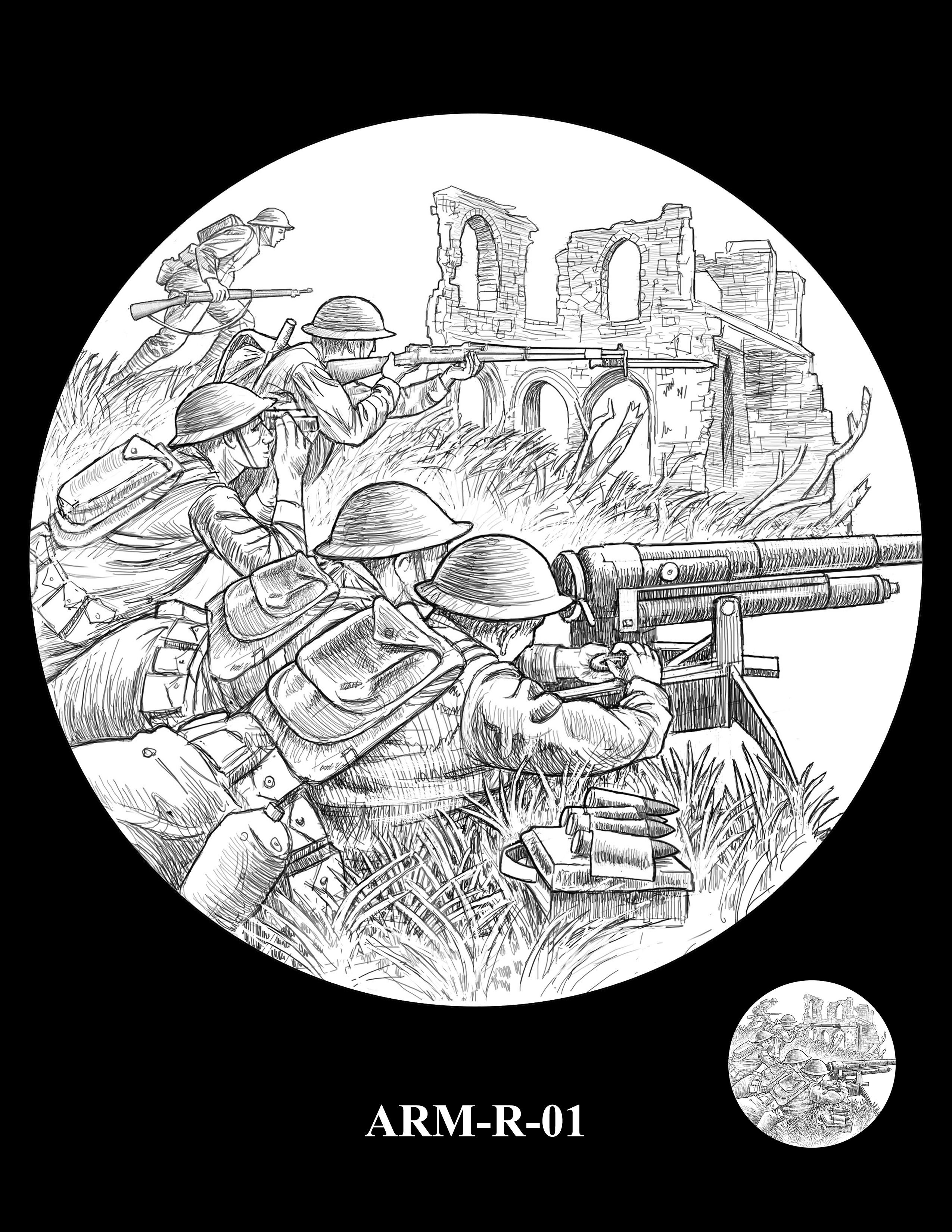 P1-ARM-R-01 --2018-World War I Silver Medals - Army