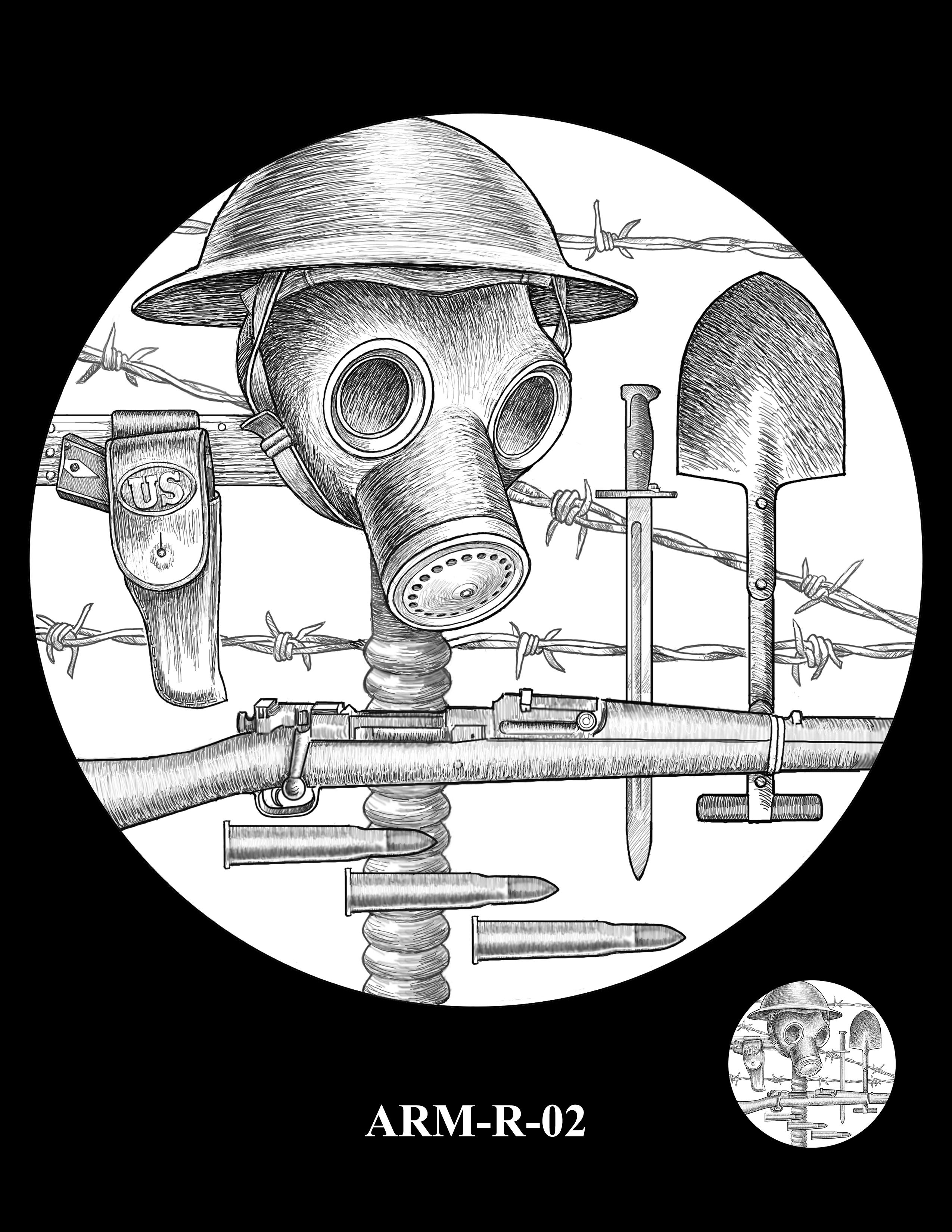 P1-ARM-R-02 -- 2018-World War I Silver Medals - Army