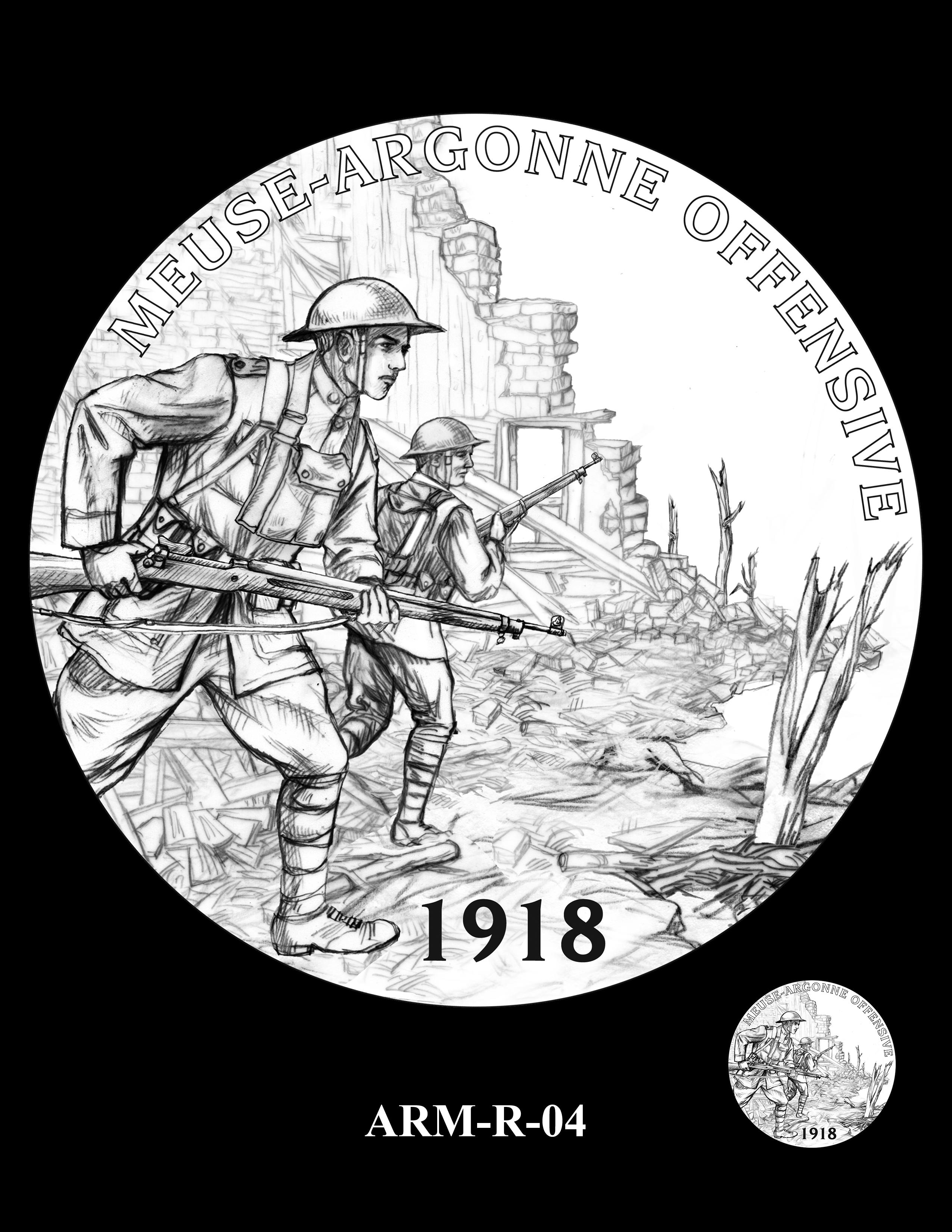 P1-ARM-R-04 --2018-World War I Silver Medals - Army