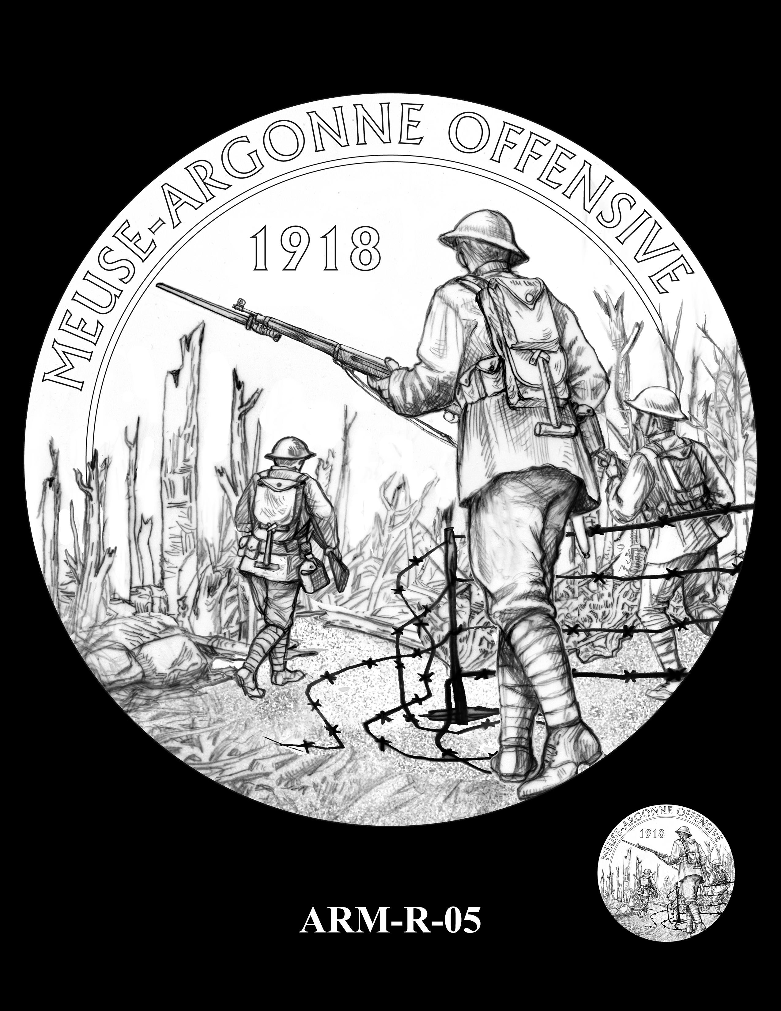 P1-ARM-R-05 -- 2018-World War I Silver Medals - Army