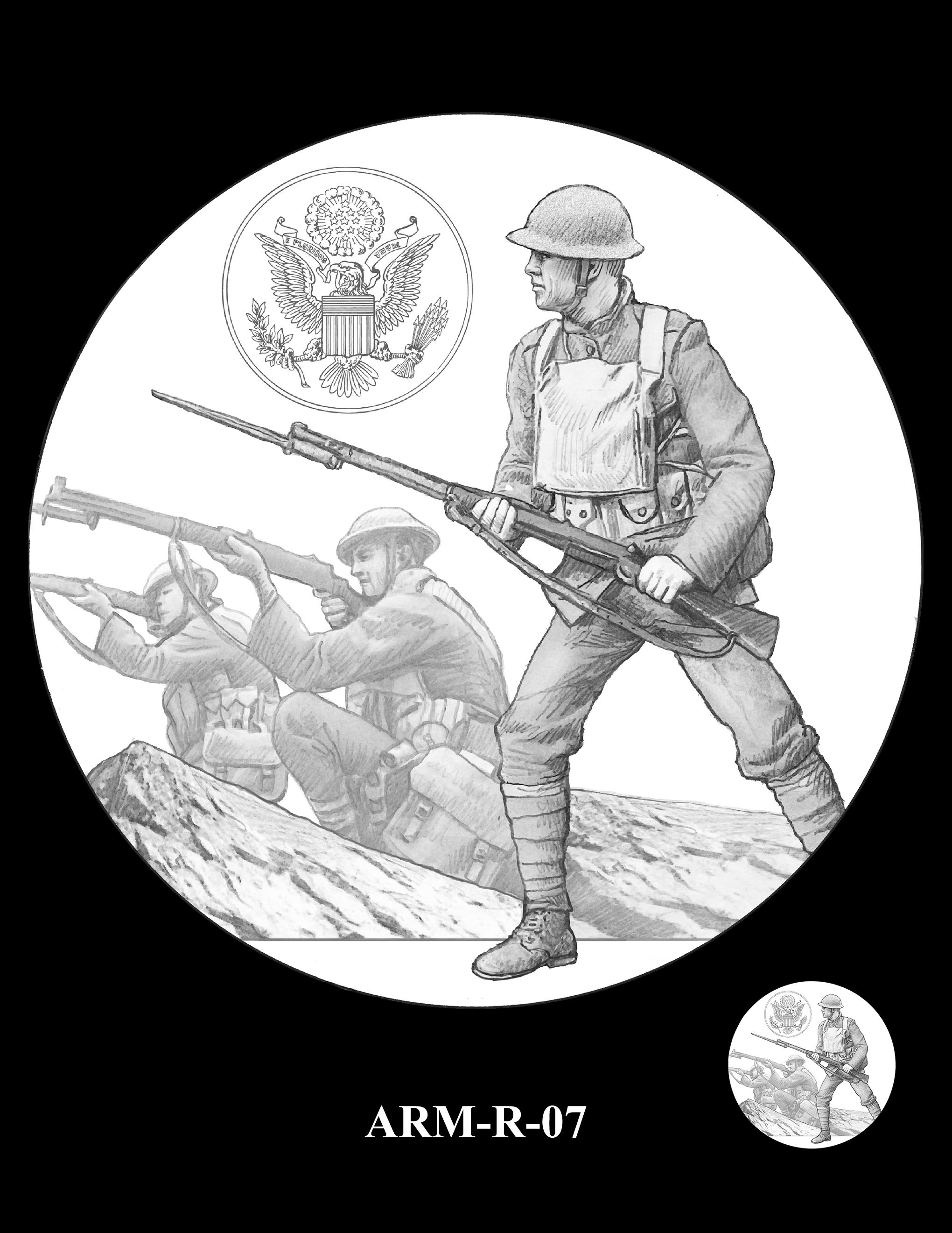 P1-ARM-R-07 -- 2018-World War I Silver Medals - Army