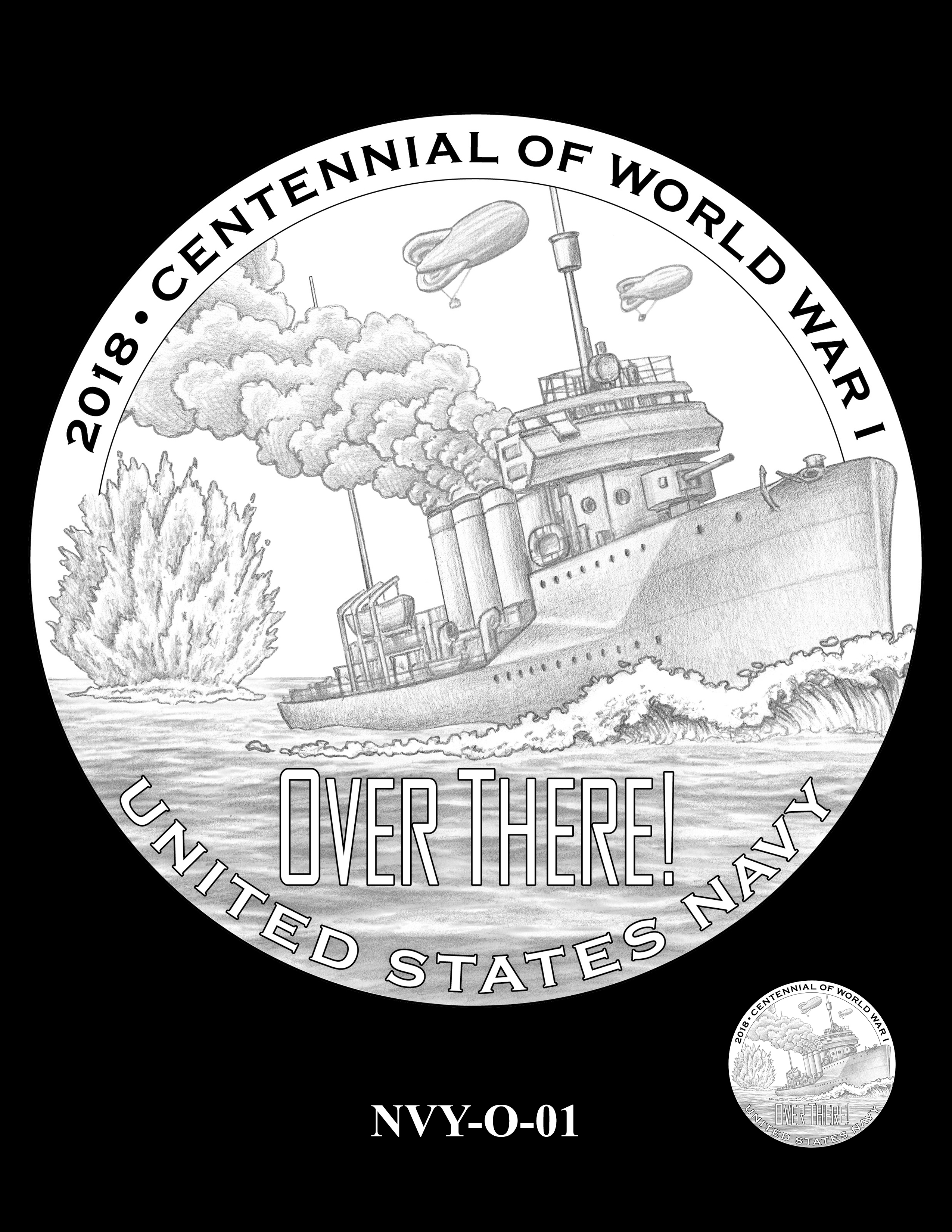 P1-NVY-O-01 -- 2018-World War I Silver Medals - Navy