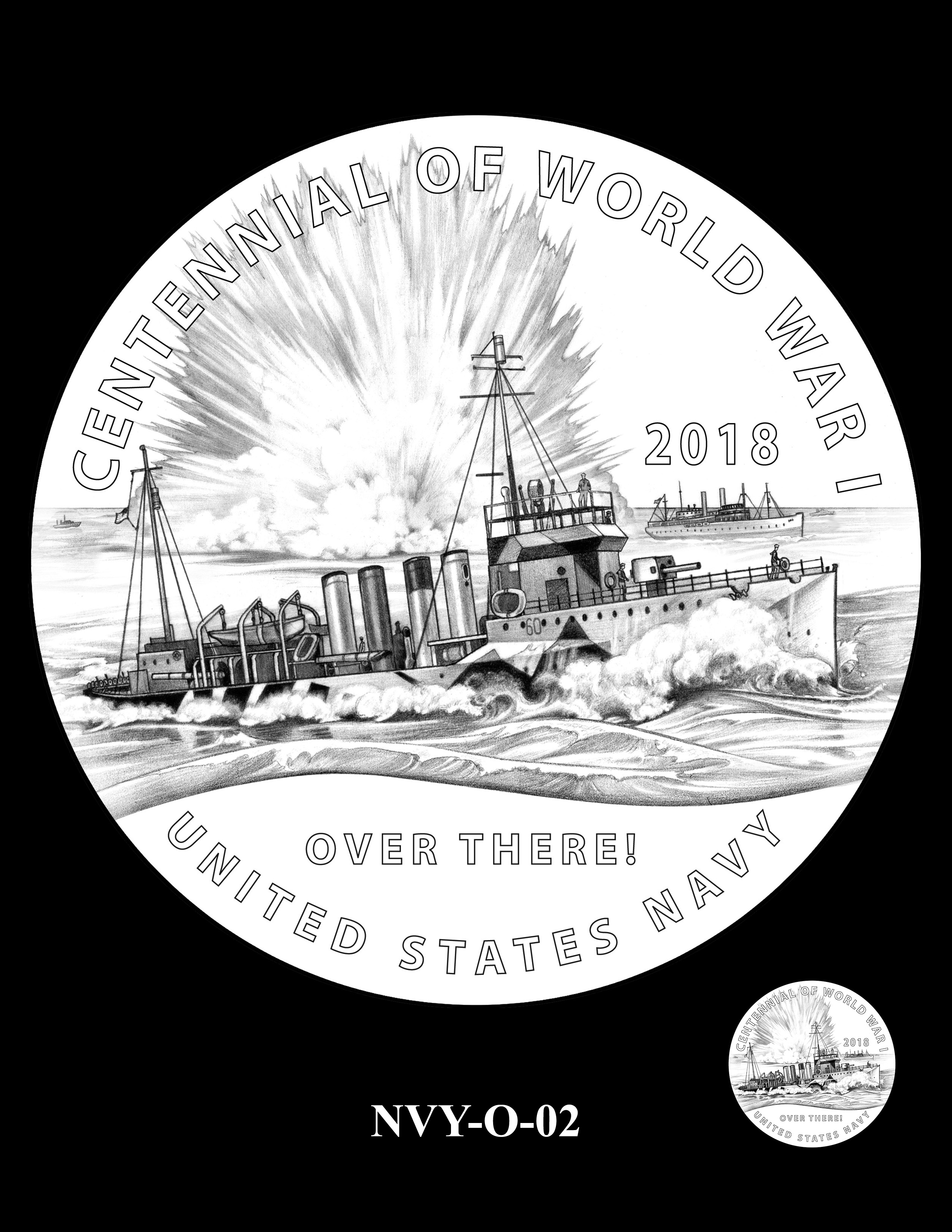 P1-NVY-O-02 -- 2018-World War I Silver Medals - Navy