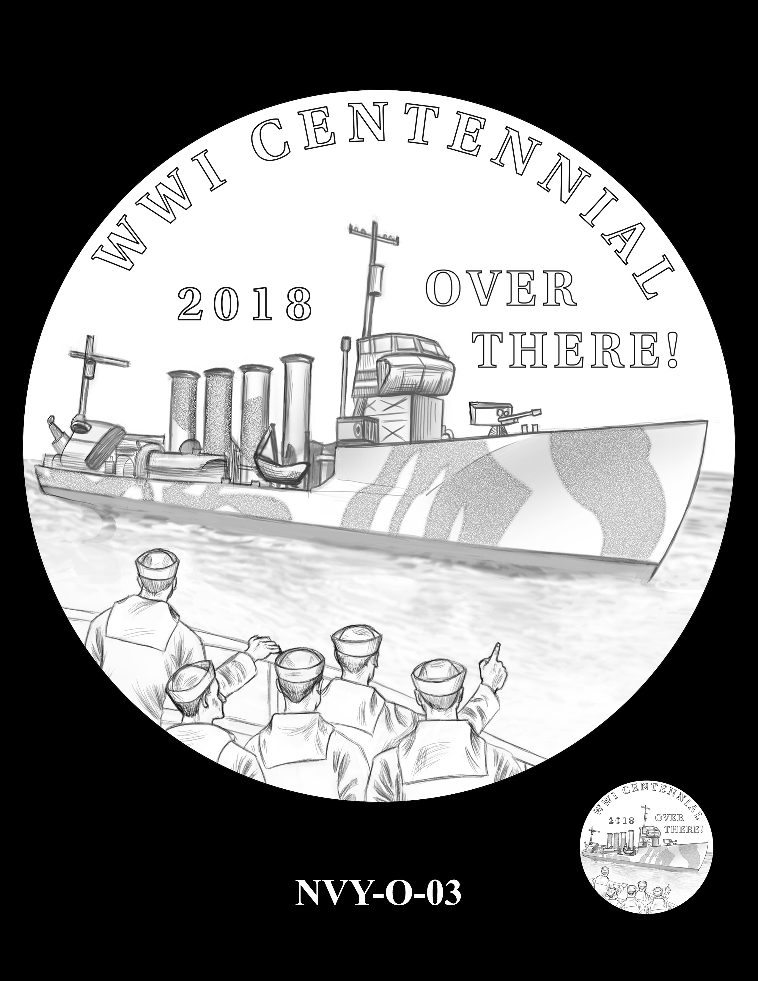P1-NVY-O-03 -- 2018-World War I Silver Medals - Navy