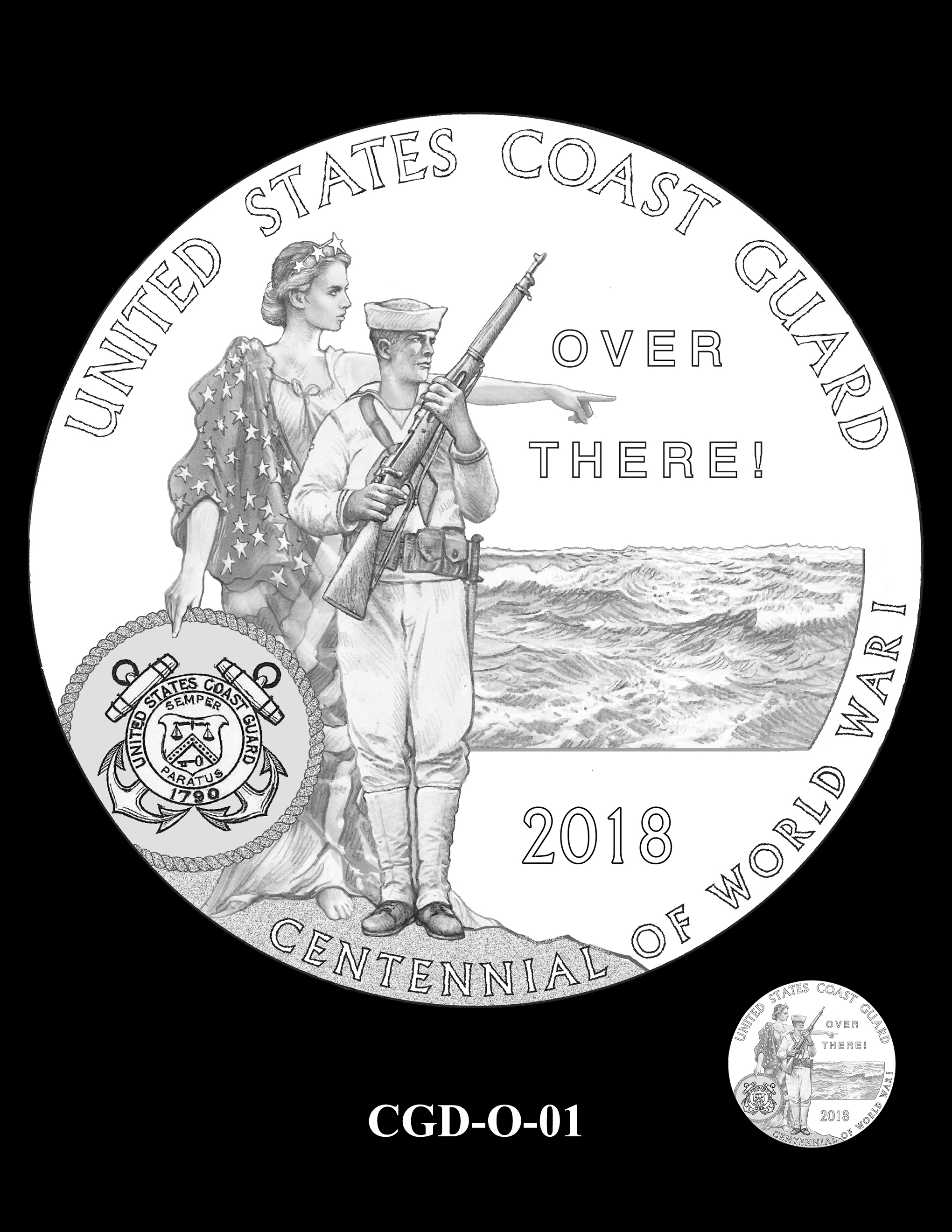 P1a-CGD-O-01 -- 2018-World War I Silver Medals - Coast Guard