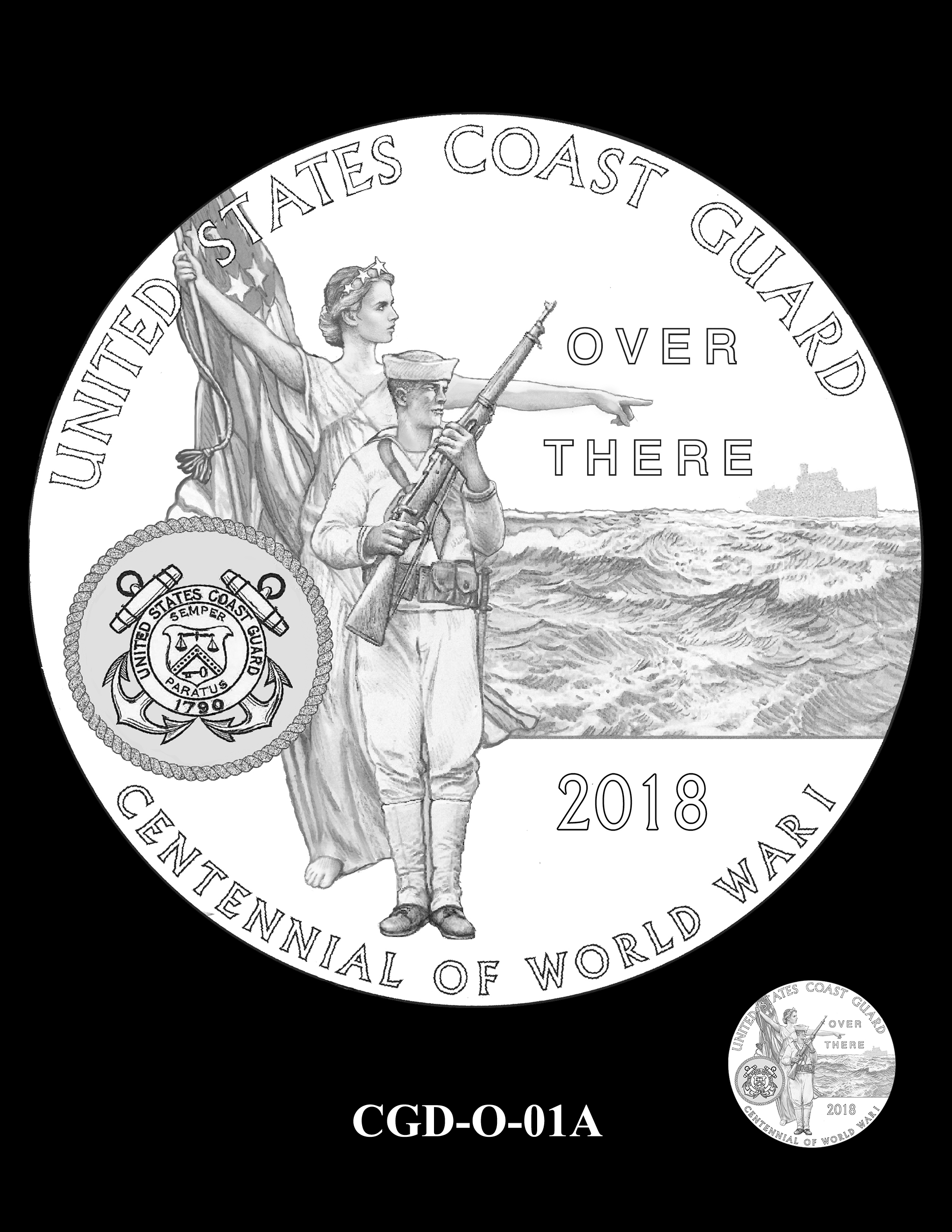 P1a-CGD-O-01A -- 2018-World War I Silver Medals - Coast Guard