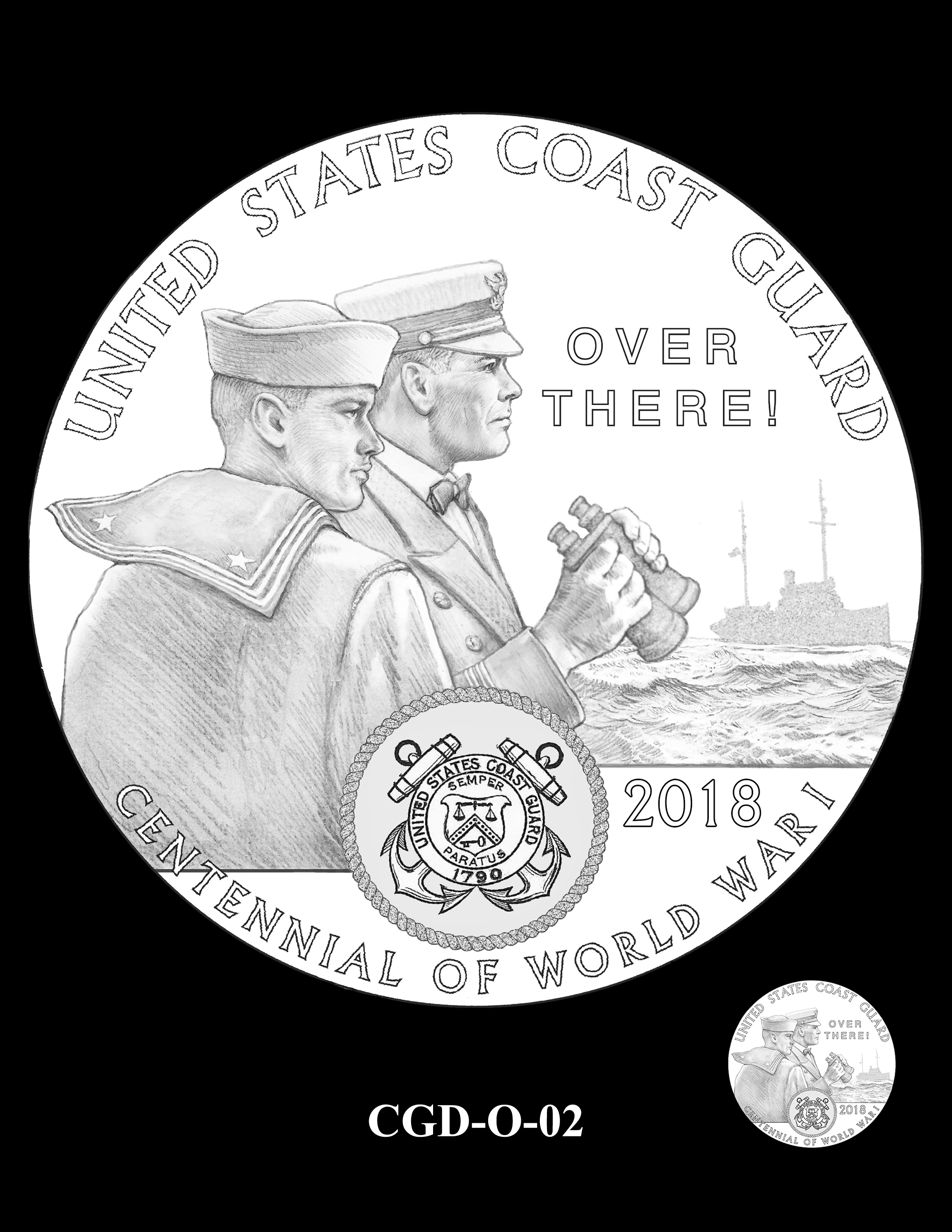 P1a-CGD-O-02 -- 2018-World War I Silver Medals - Coast Guard