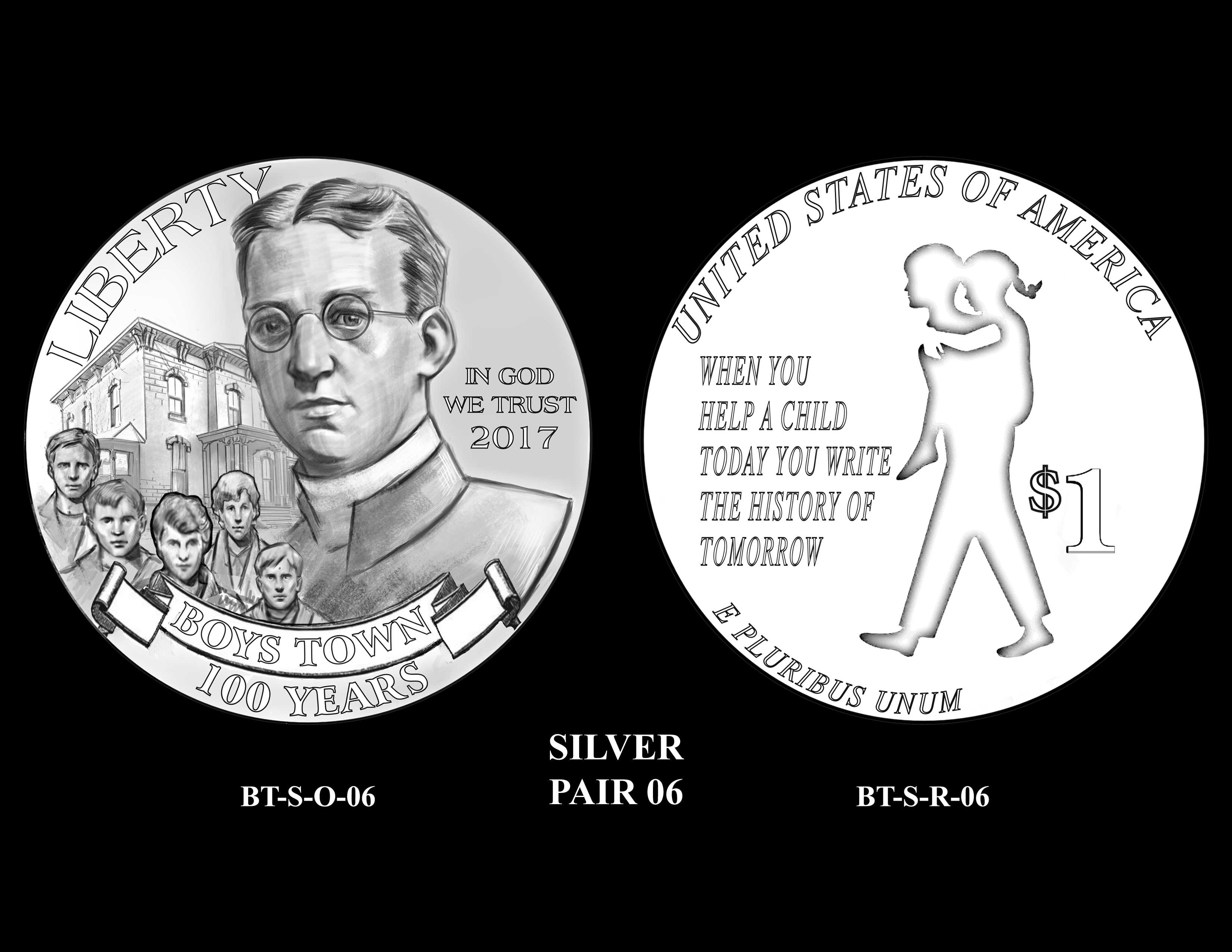 Silver-Pair-06 -- 2017 Boystown Centennial Commemorative Coin  Program