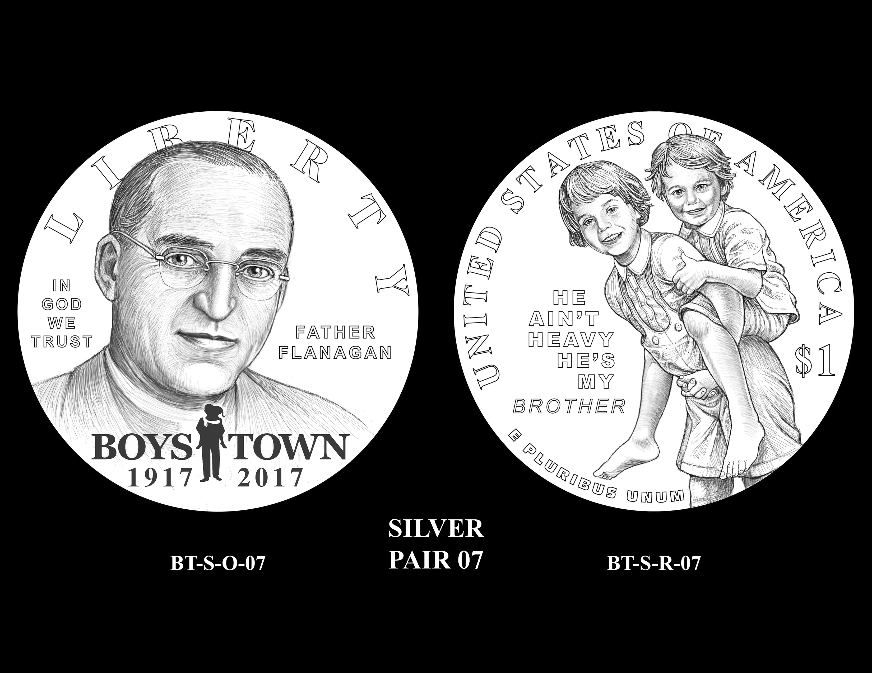 Silver-Pair-07 -- 2017 Boystown Centennial Commemorative Coin  Program