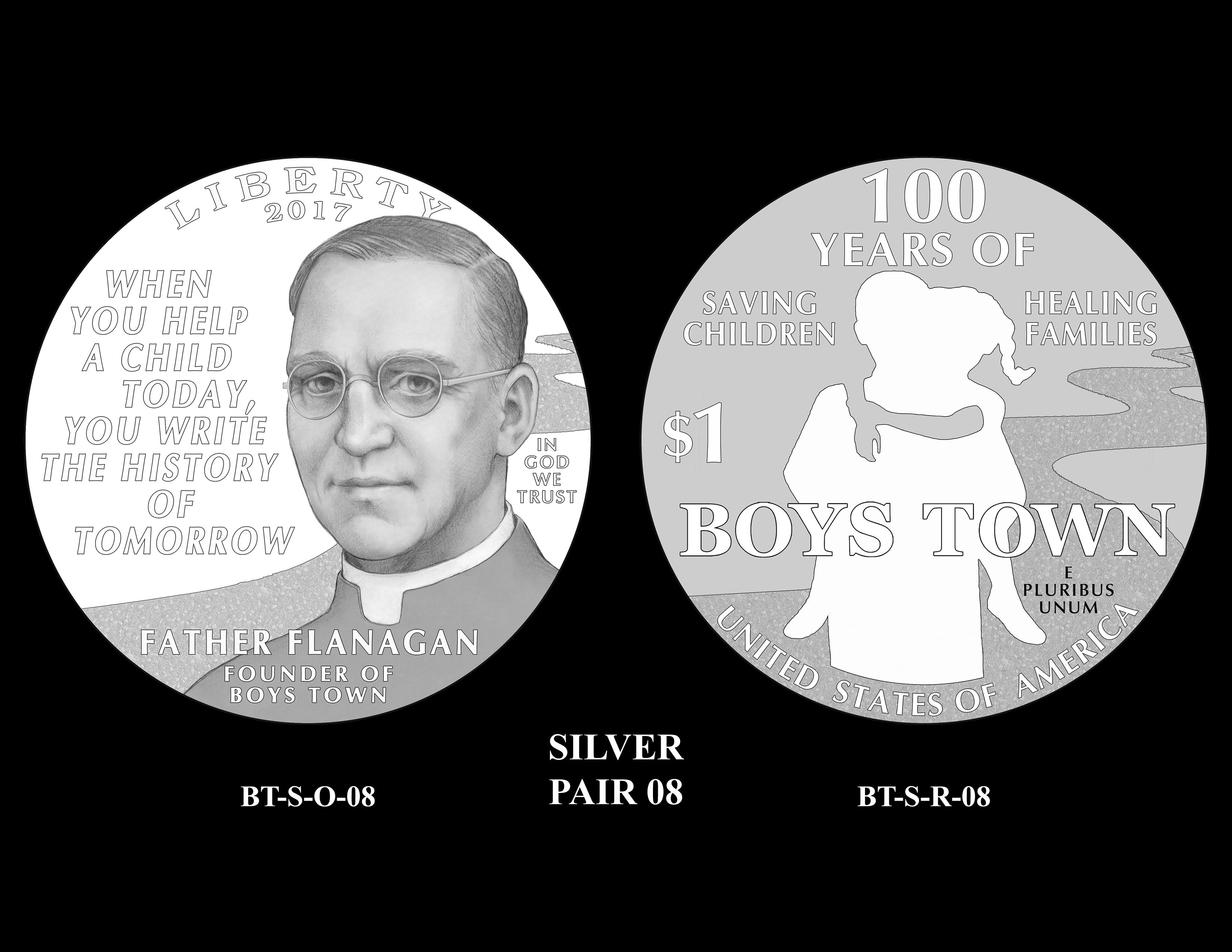 Silver-Pair-08 -- 2017 Boystown Centennial Commemorative Coin  Program