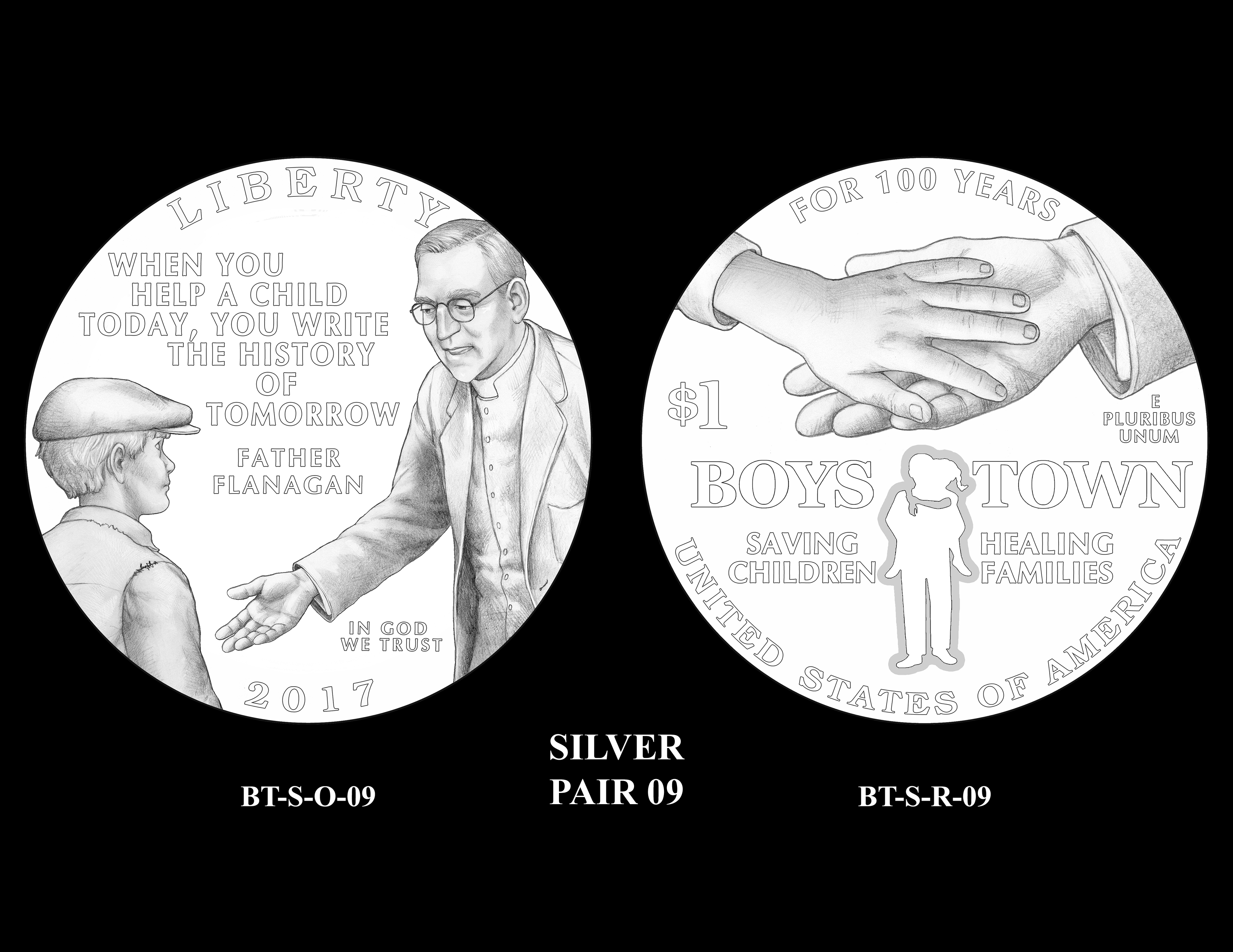 Silver-Pair-09 -- 2017 Boystown Centennial Commemorative Coin  Program