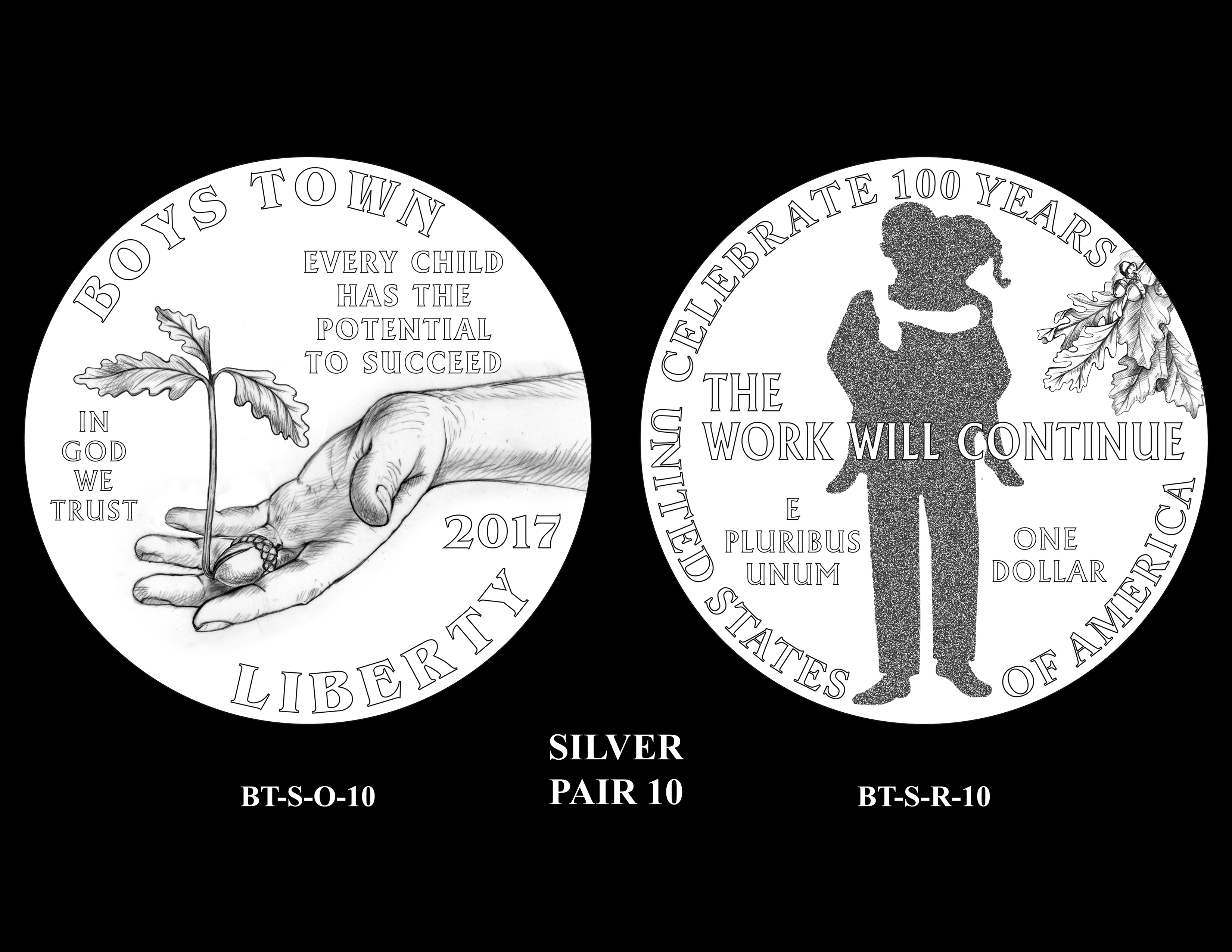 Silver-Pair-10 -- 2017 Boystown Centennial Commemorative Coin  Program