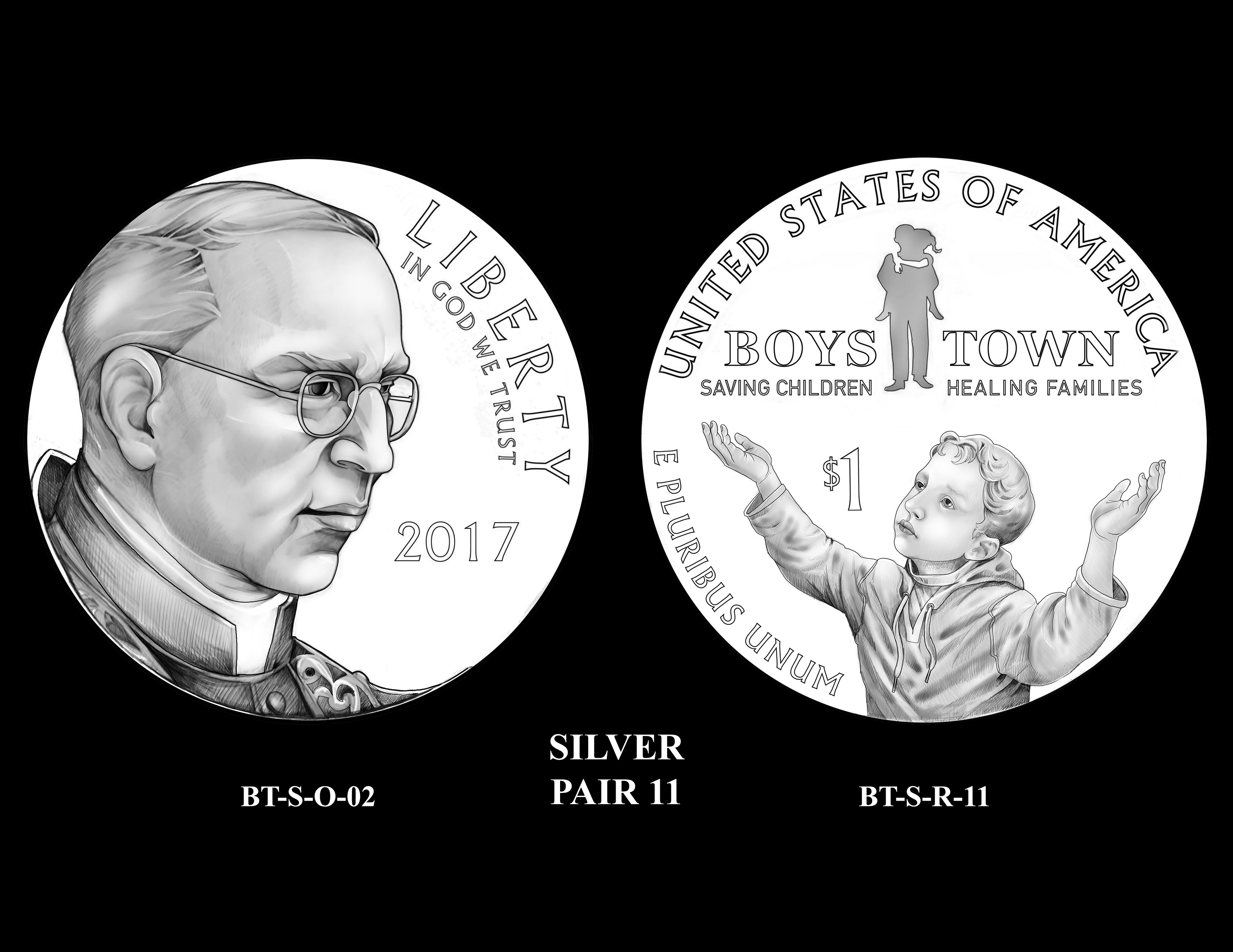 Silver-Pair-11 -- 2017 Boystown Centennial Commemorative Coin  Program