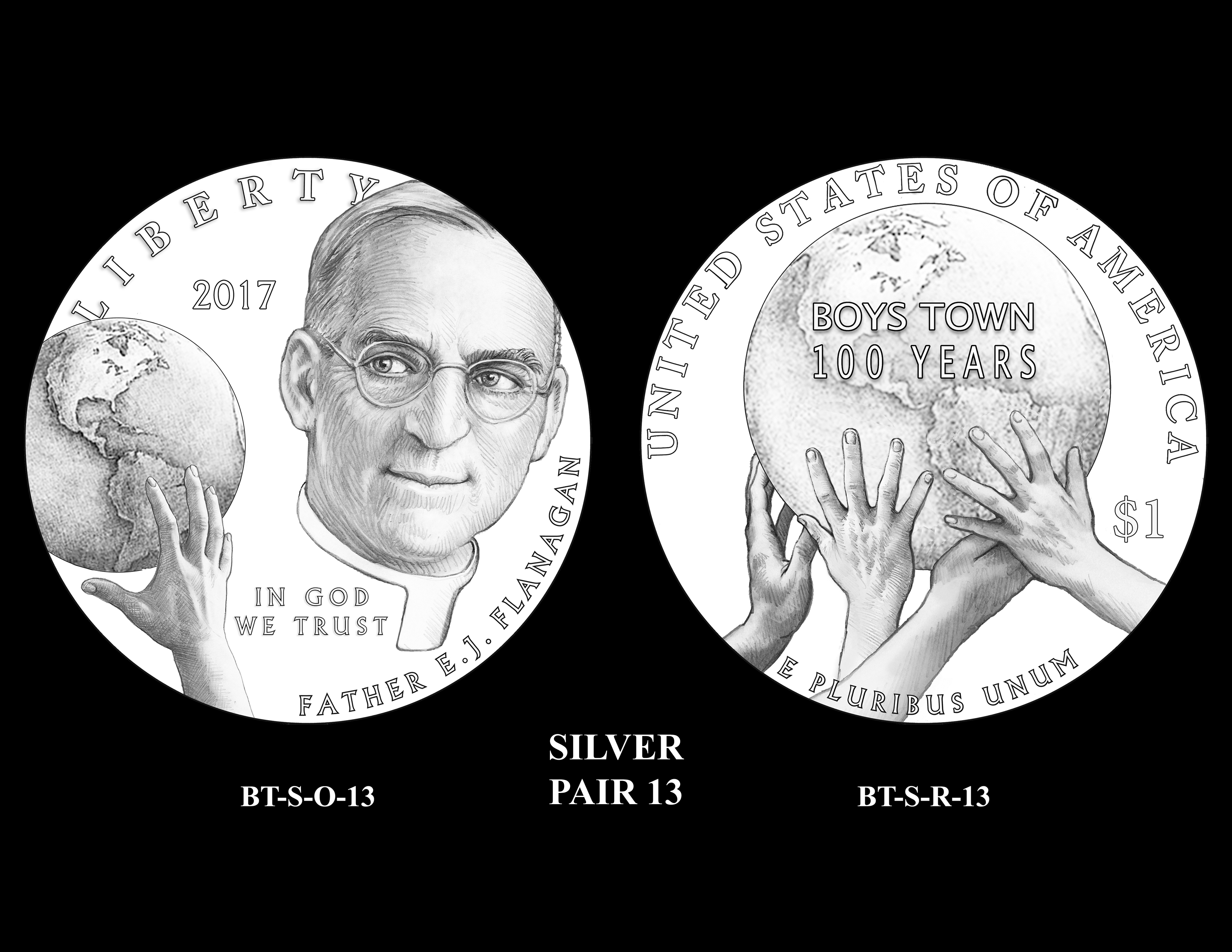 Silver-Pair-13 -- 2017 Boystown Centennial Commemorative Coin  Program