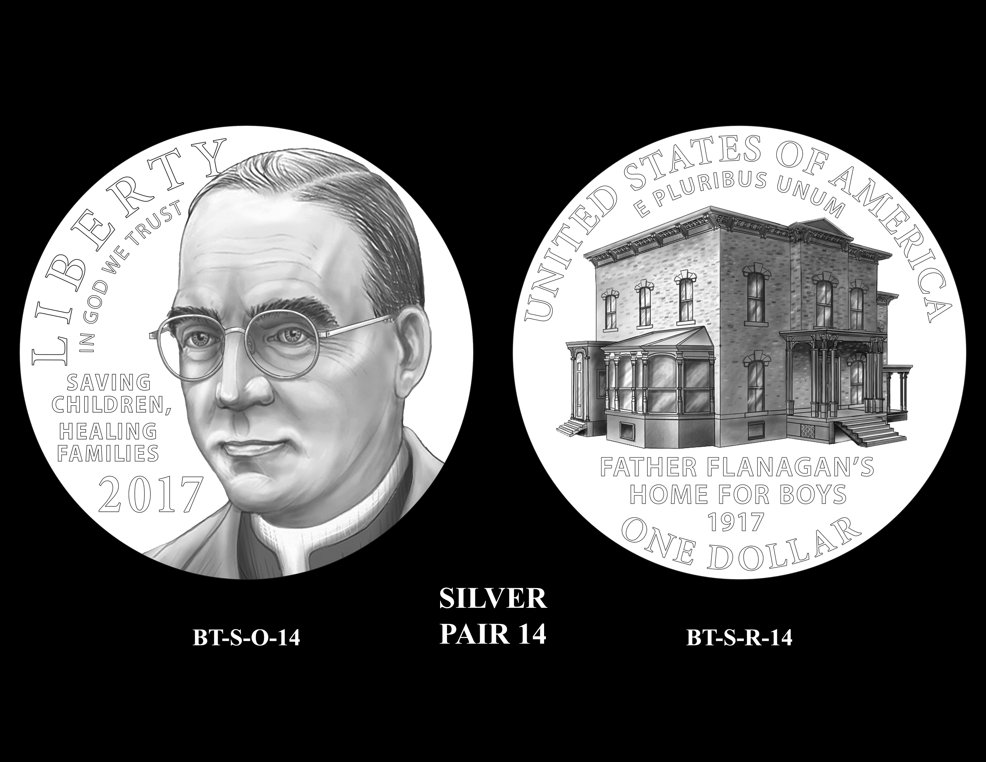 Silver-Pair-14 -- 2017 Boystown Centennial Commemorative Coin  Program