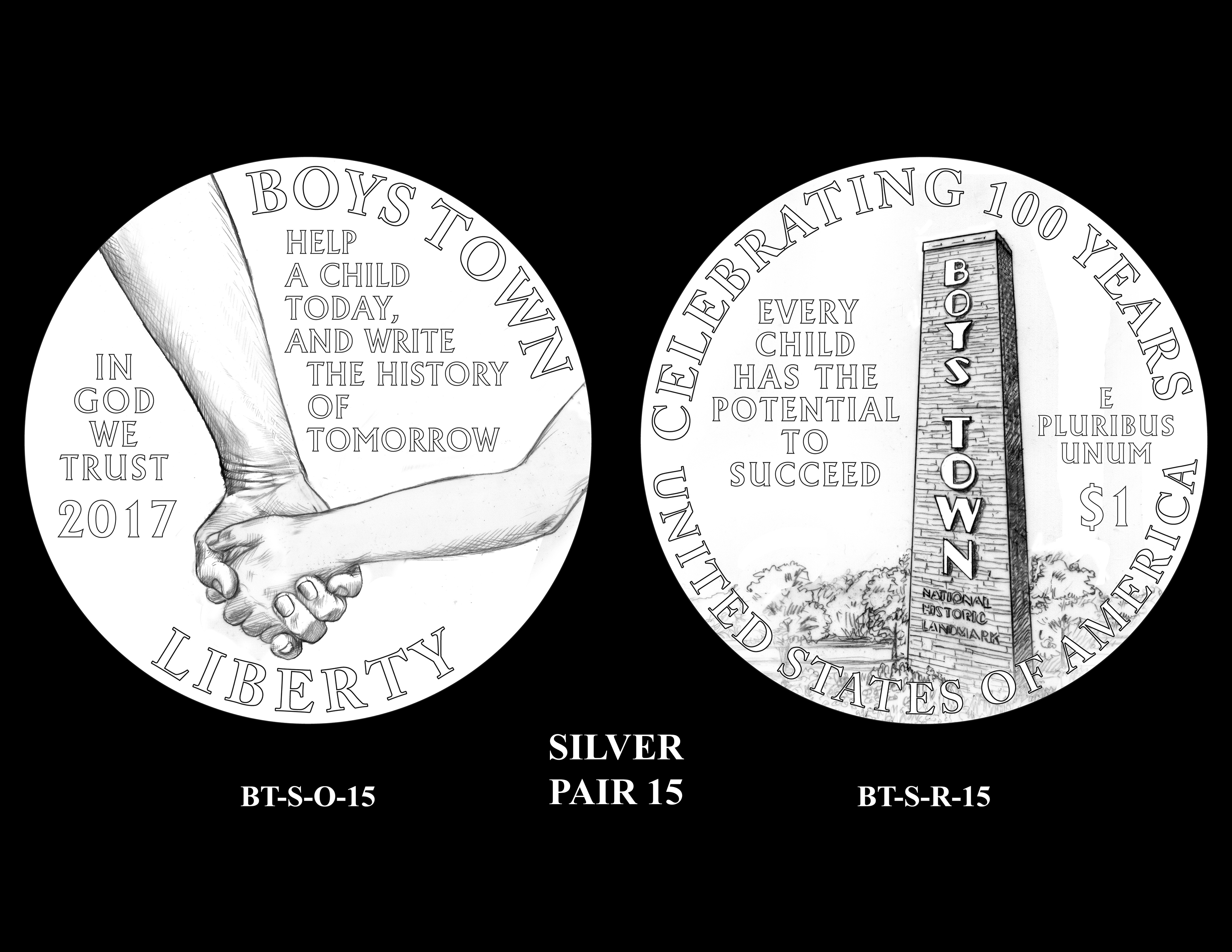 Silver-Pair-15 -- 2017 Boystown Centennial Commemorative Coin  Program