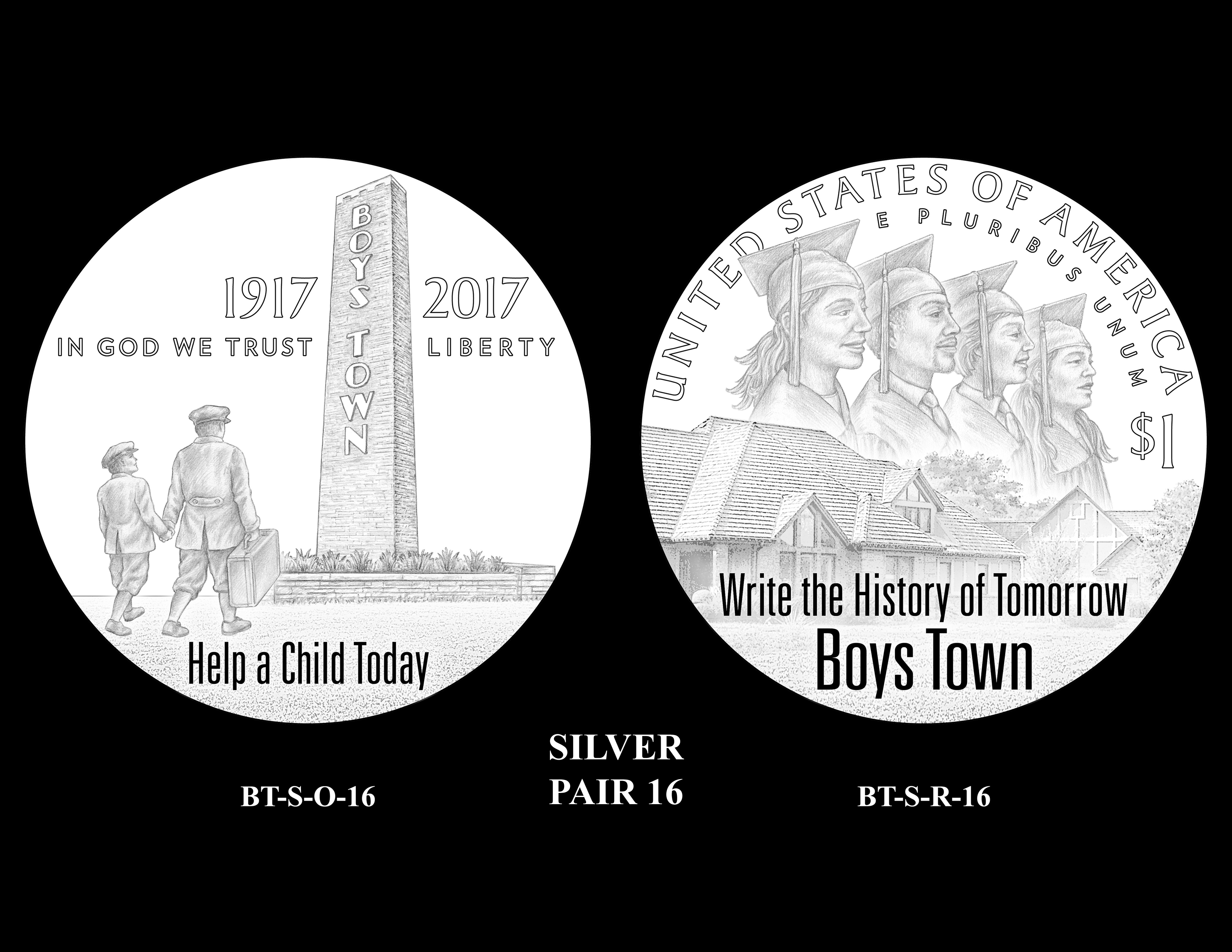 Silver-Pair-16 -- 2017 Boystown Centennial Commemorative Coin  Program