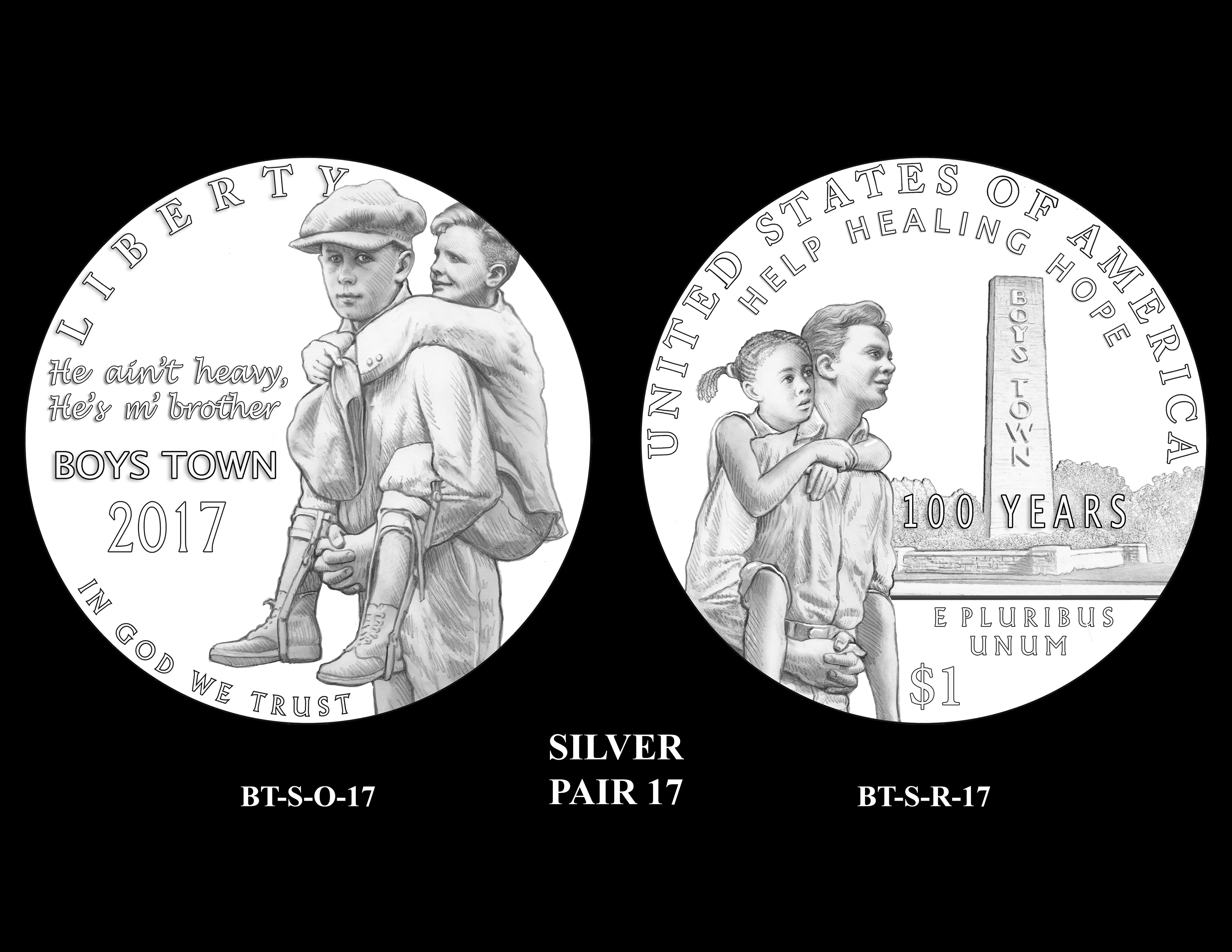 Silver-Pair-17 -- 2017 Boystown Centennial Commemorative Coin  Program