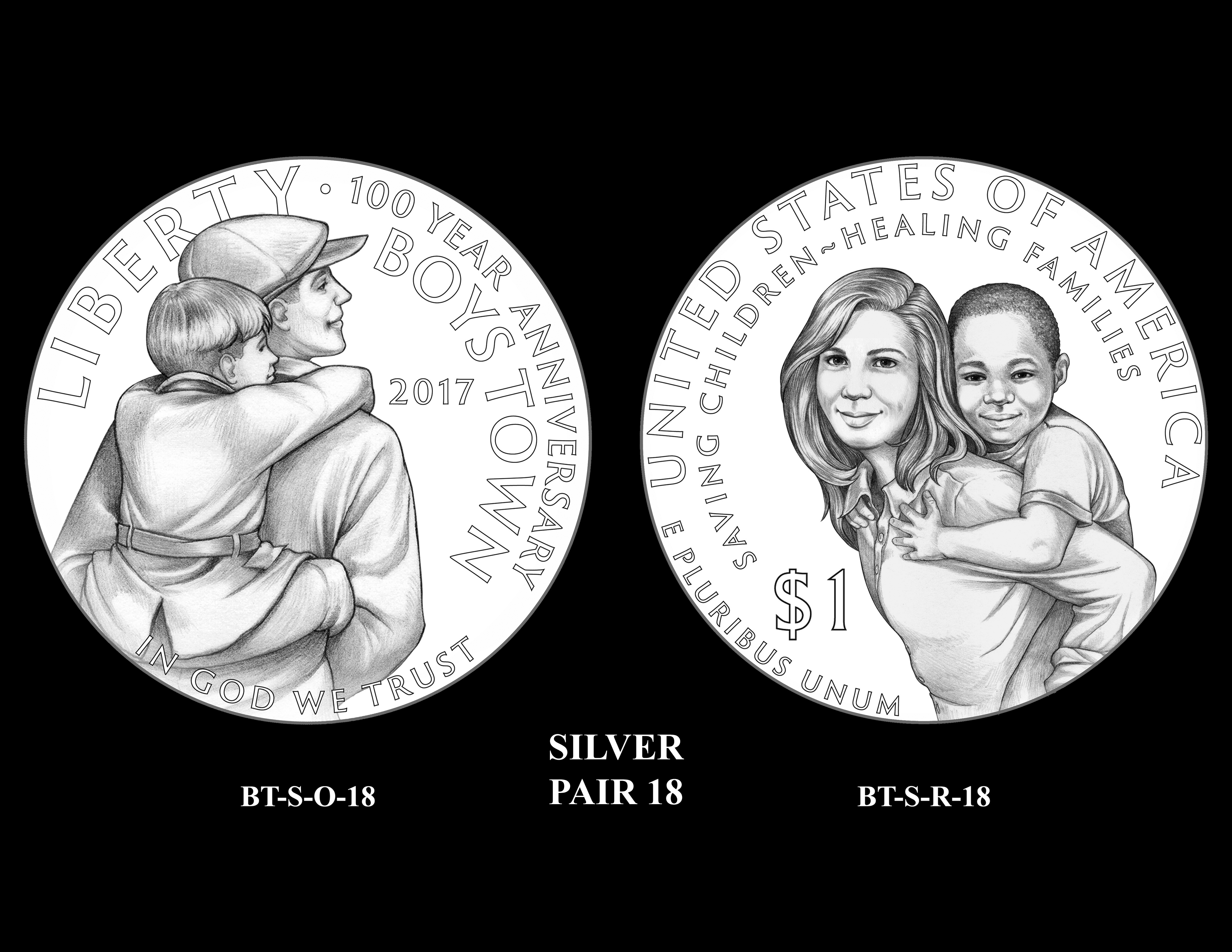 Silver-Pair-18 -- 2017 Boystown Centennial Commemorative Coin  Program