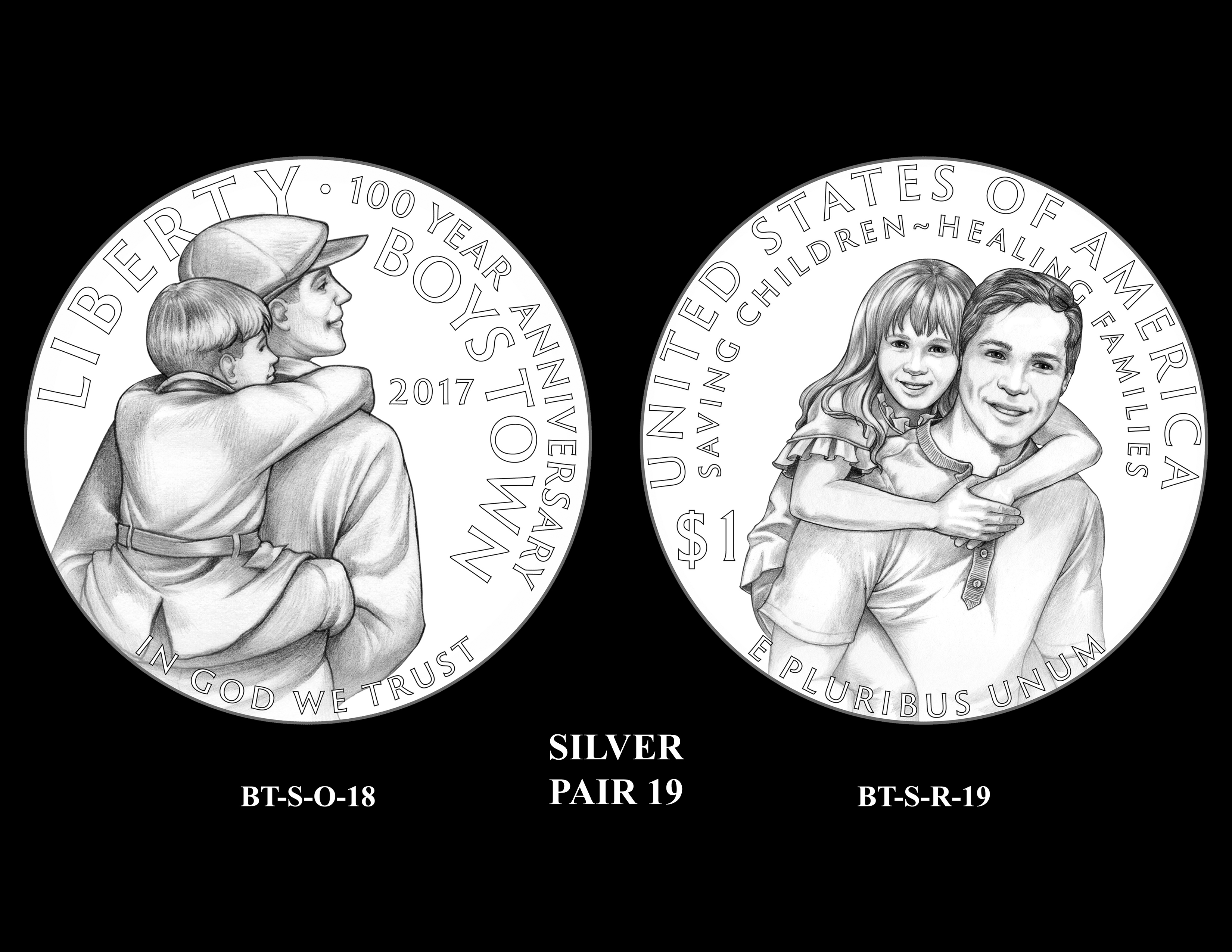 Silver-Pair-19 -- 2017 Boystown Centennial Commemorative Coin  Program