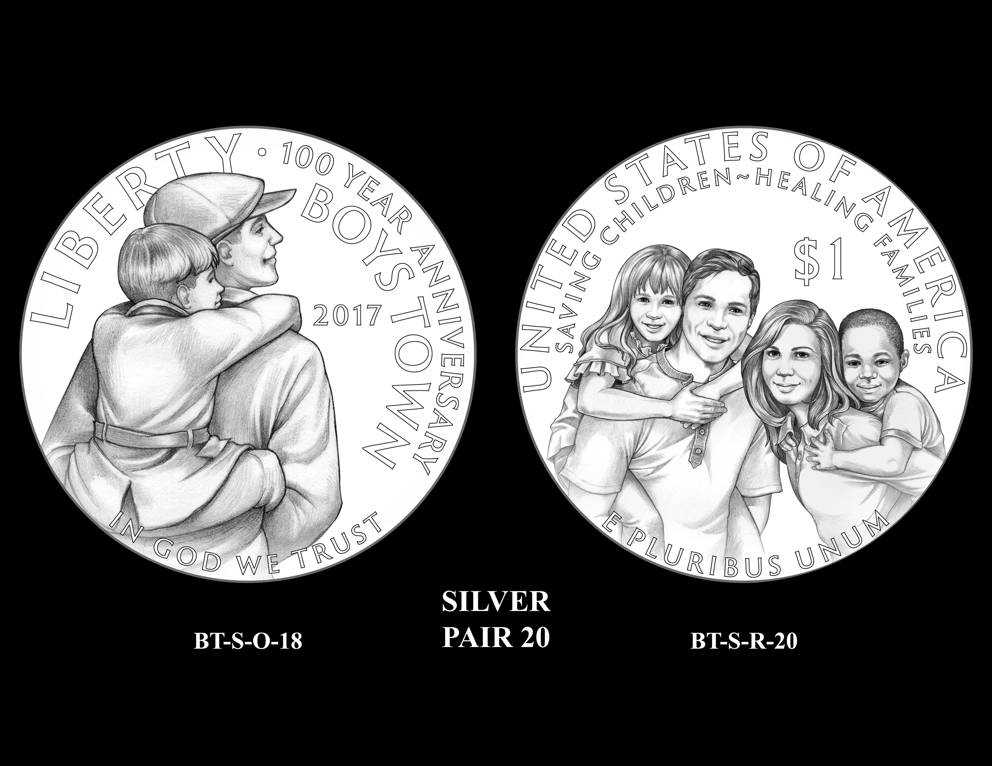 Silver-Pair-20 -- 2017 Boystown Centennial Commemorative Coin  Program
