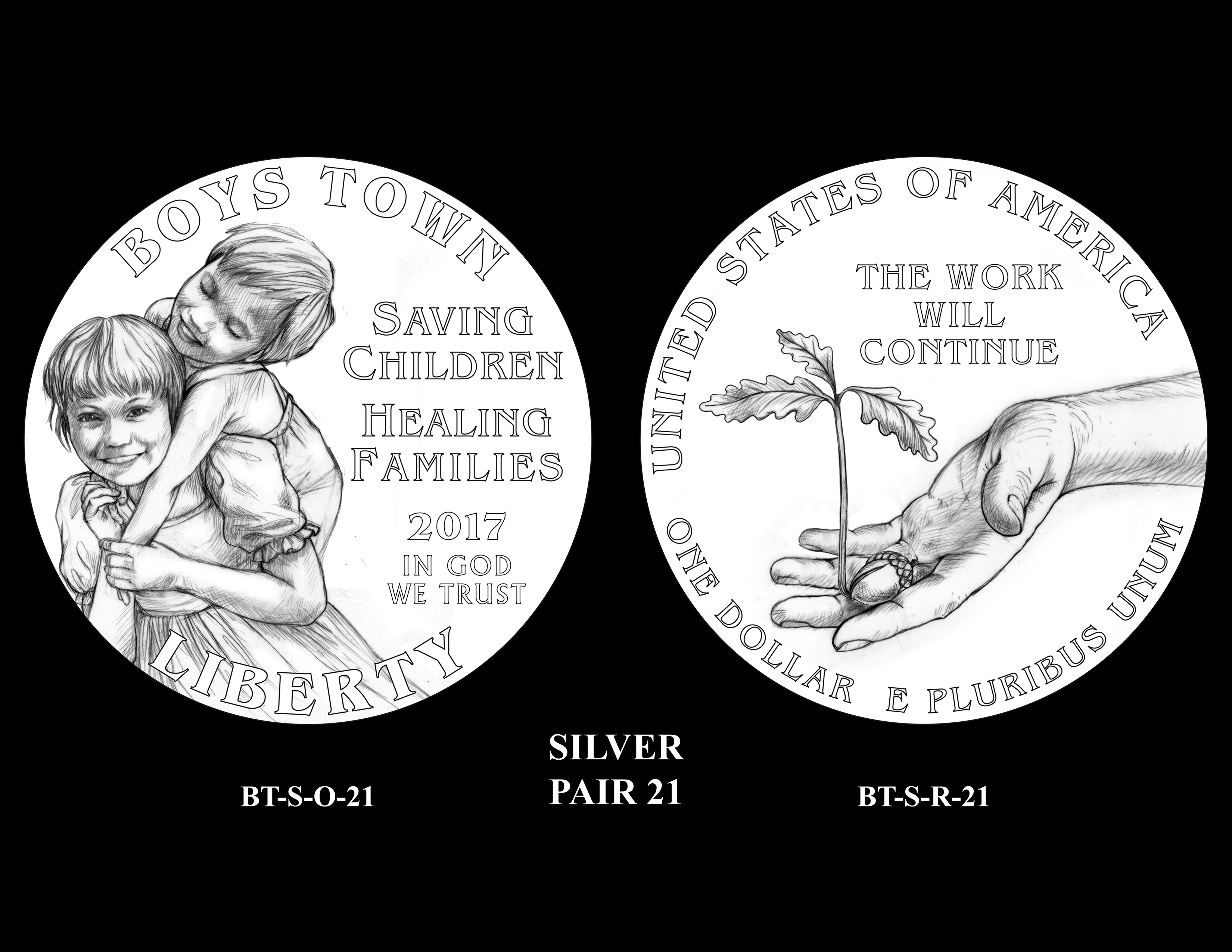 Silver-Pair-21 -- 2017 Boystown Centennial Commemorative Coin  Program