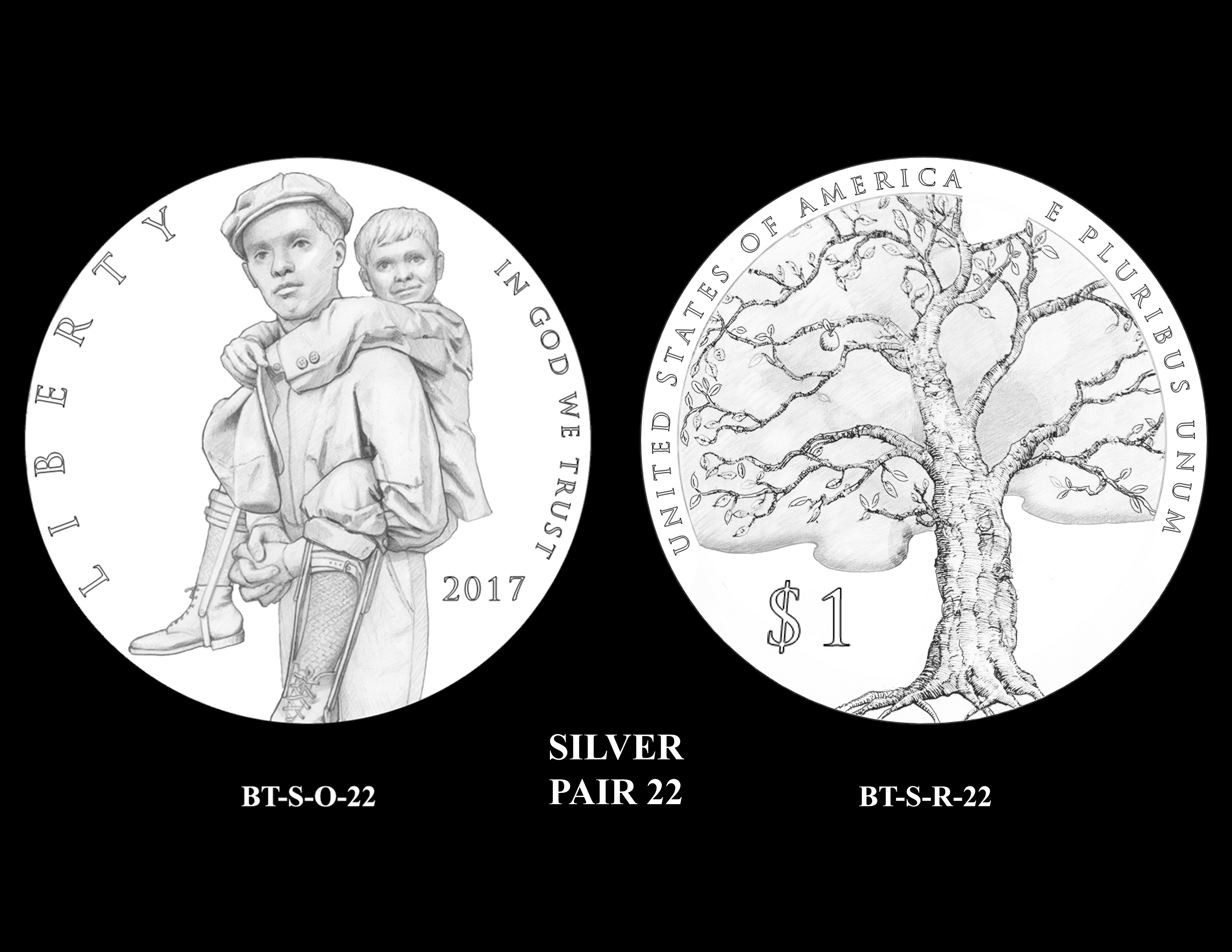 Silver-Pair-22 -- 2017 Boystown Centennial Commemorative Coin  Program