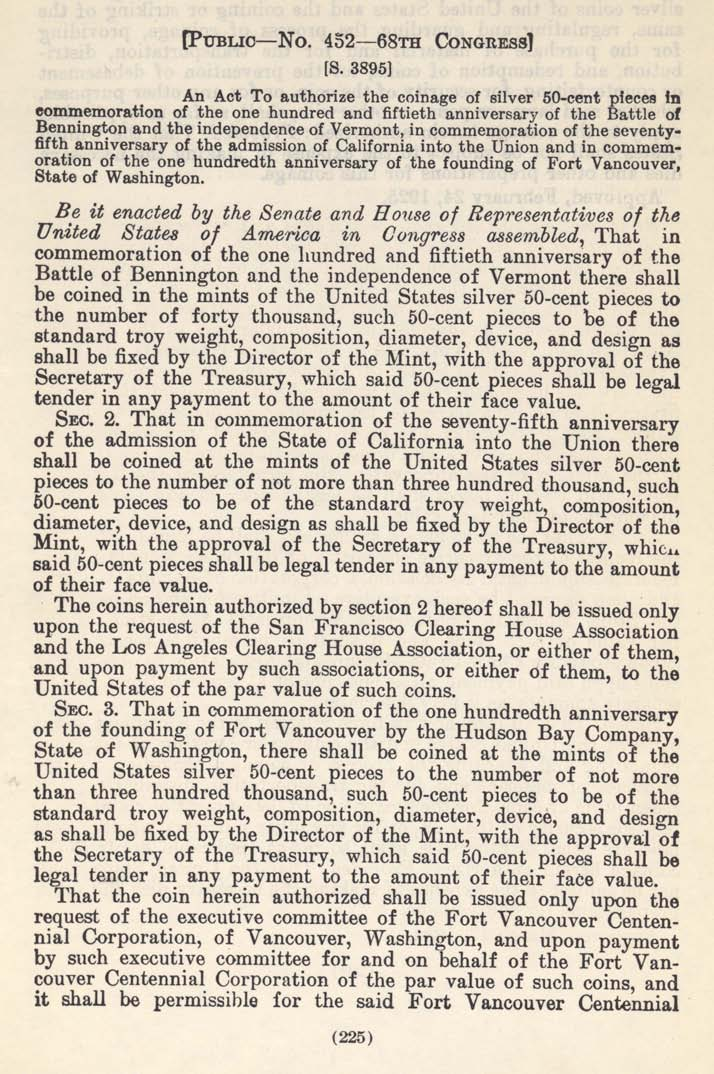 Historic Legislation: VT/CA/Fort Vancouver Coin Act, Page 1