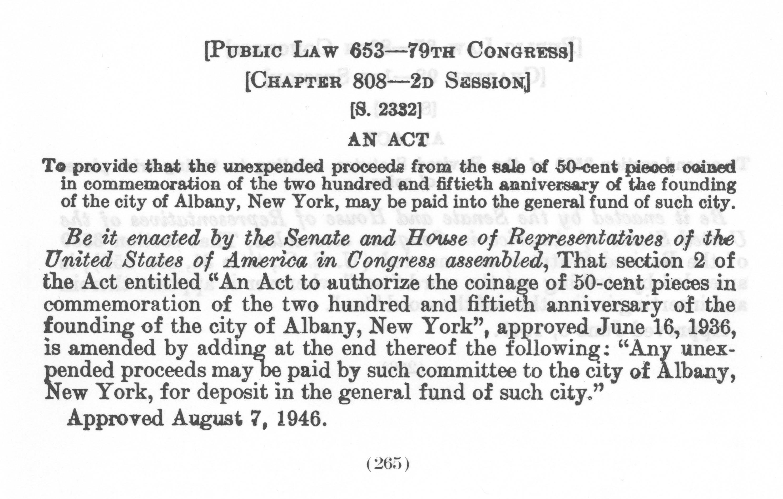 Historic Legislation: Albany NY Coin Act Amendment