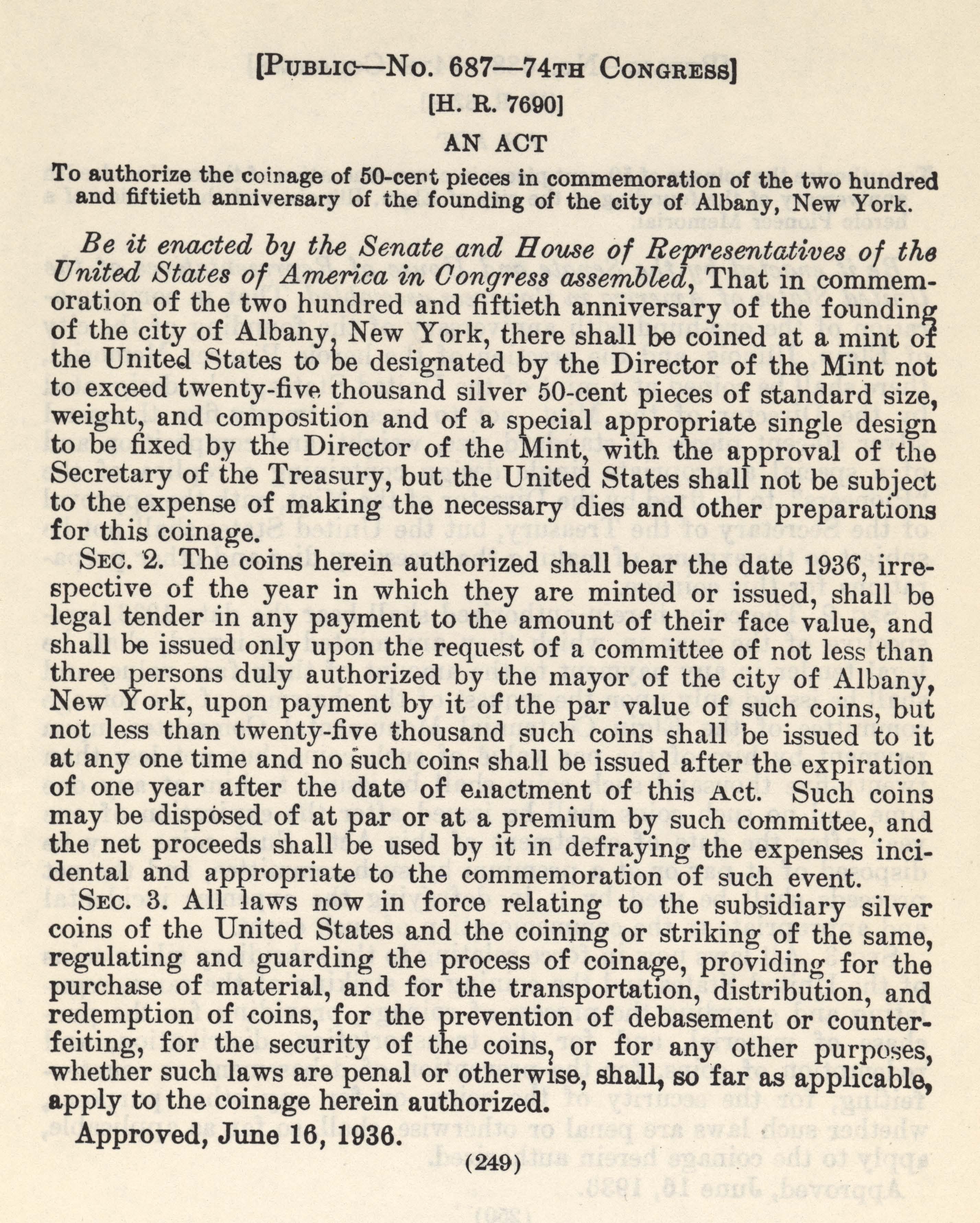 Historic Legislation: Albany NY Coin Act