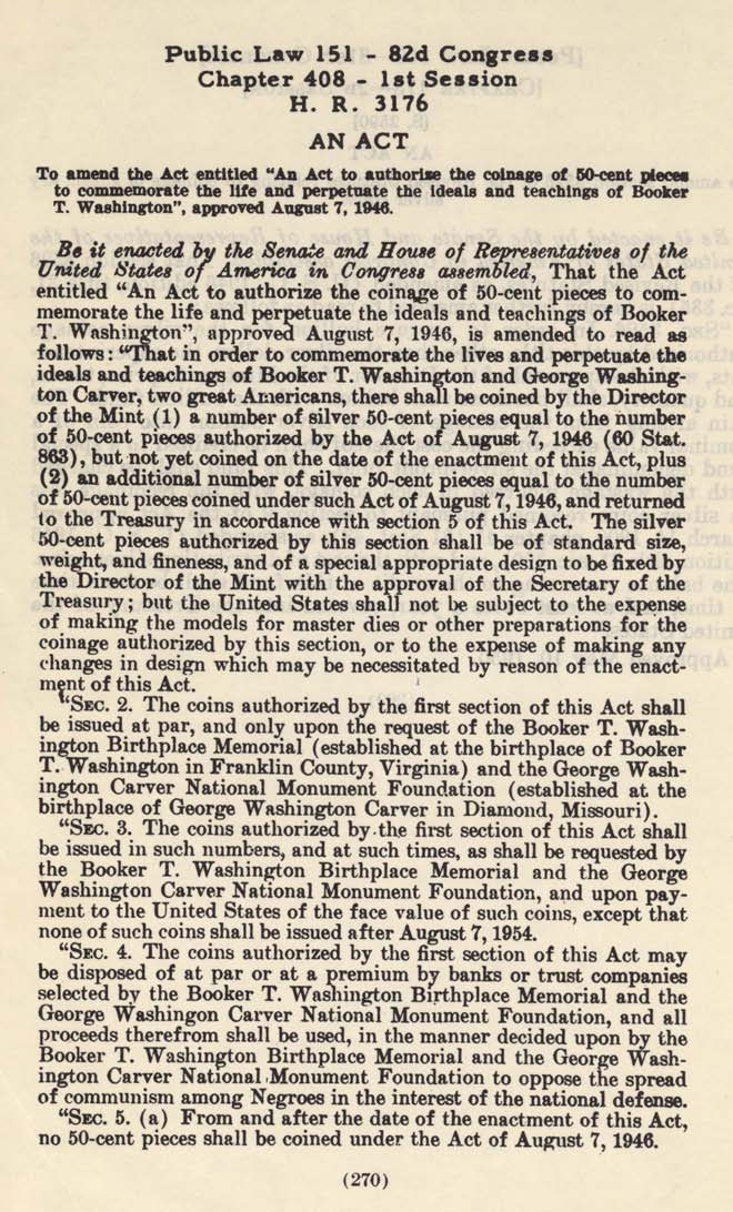 Historic Legislation: Booker T Washington Coin Act Amendment, Page 1