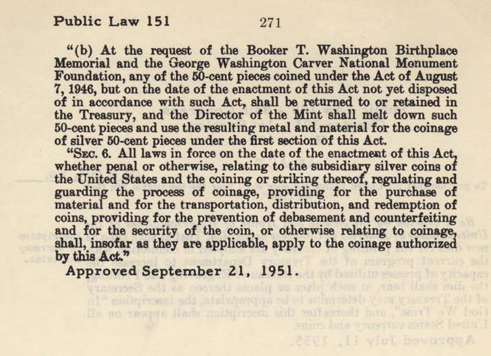 Historic Legislation: Booker T Washington Coin Act Amendment, Page 2