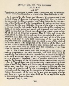 Historic Legislation, May 6, 1936. Full text is duplicated in the body of this page.