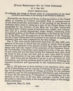 Historic Legislation, May 15, 1936. Full text is duplicated in the body of this page.