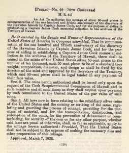Historic Legislation, March 7, 1928. Full text is duplicated in the body of this page.
