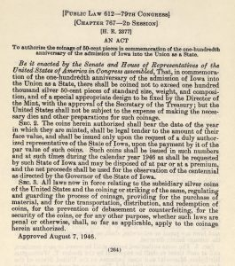 Historic Legislation, August 7, 1946. Full text is duplicated in the body of this page.