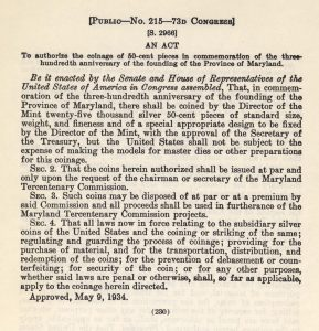 Historic Legislation, May 9, 1934. Full text is duplicated in the body of this page.