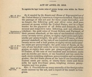 Historic Legislation, April 29, 1816. Full text is duplicated in the body of this page.