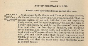 Historic Legislation, February 1, 1798. Full text is duplicated in the body of this page.