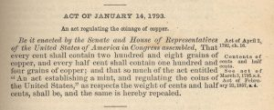 Historic Legislation, January 14, 1793. Full text is duplicated in the body of this page.