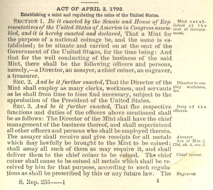Historic Legislation: Coinage Act 1792, Page 1
